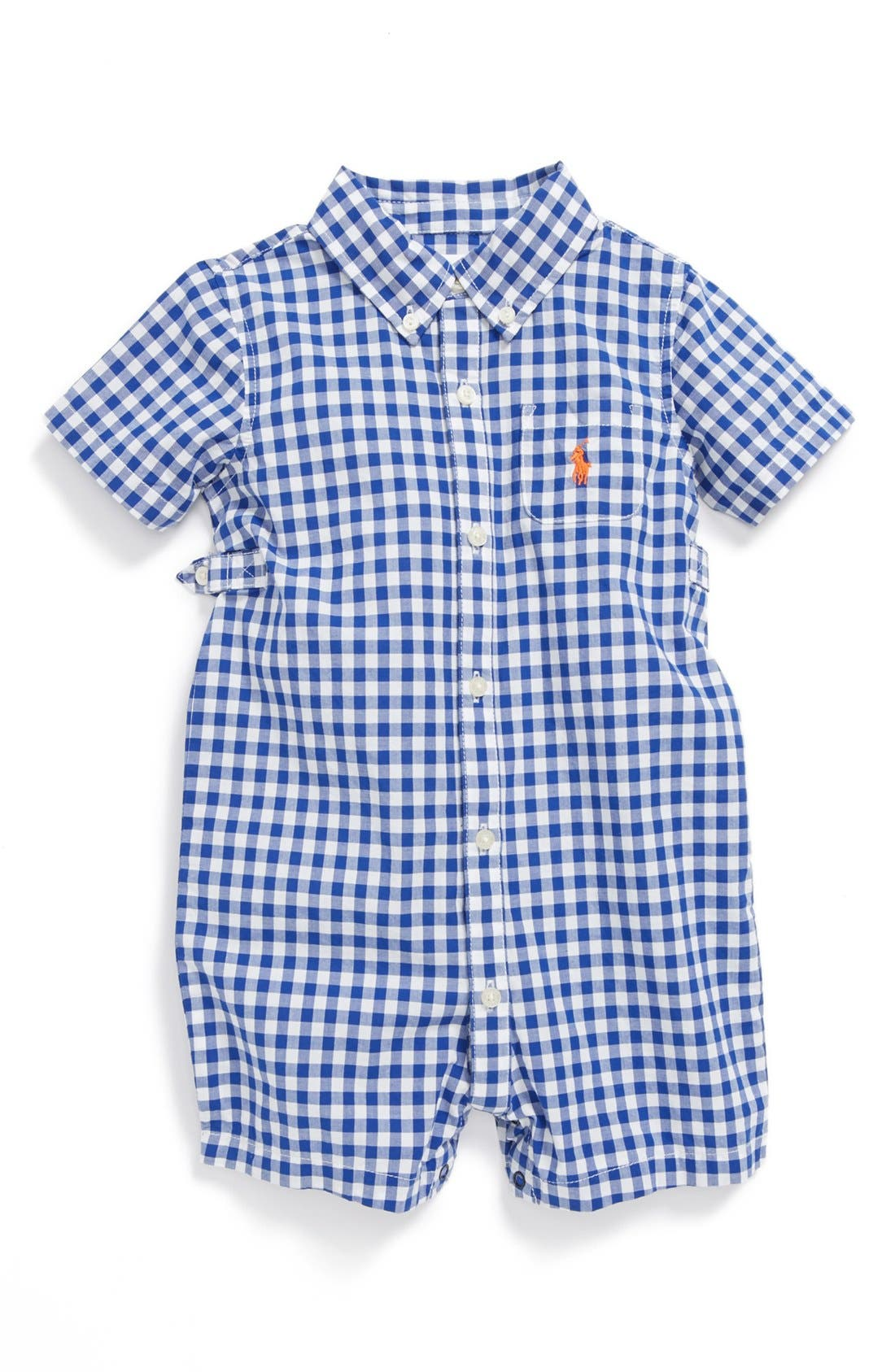 Alternate Image 1 Selected - Ralph Lauren Check Print Bodysuit (Baby)