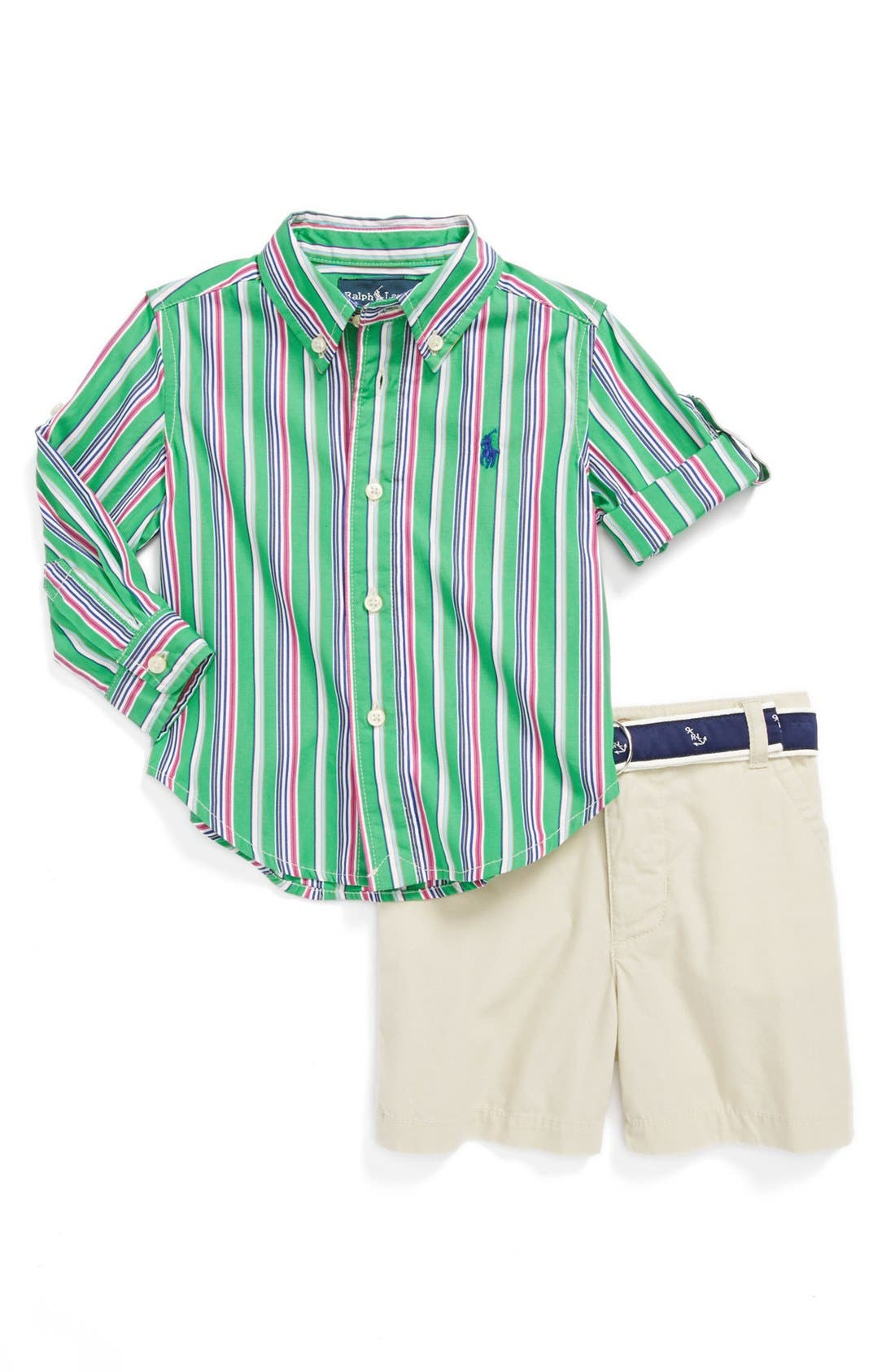 Alternate Image 1 Selected - Ralph Lauren Woven Shirt & Shorts (Baby Boys)
