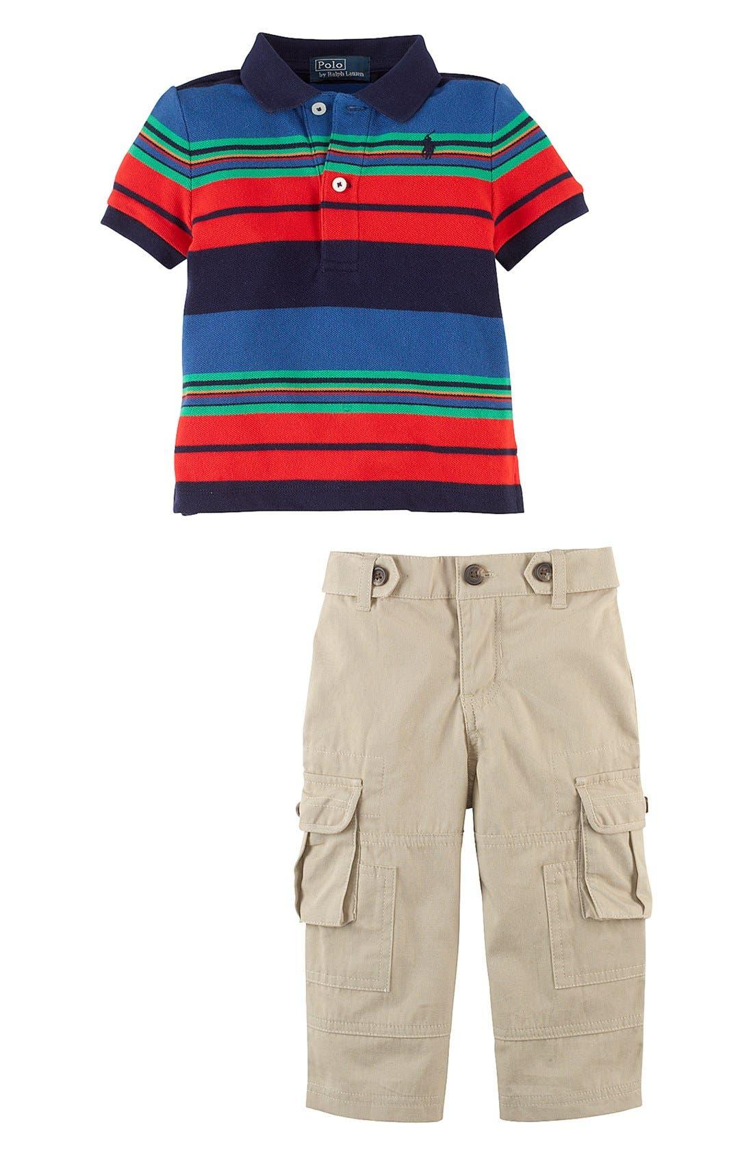 Alternate Image 2  - Ralph Lauren Stripe Polo & Cargo Pants (Baby Boys)