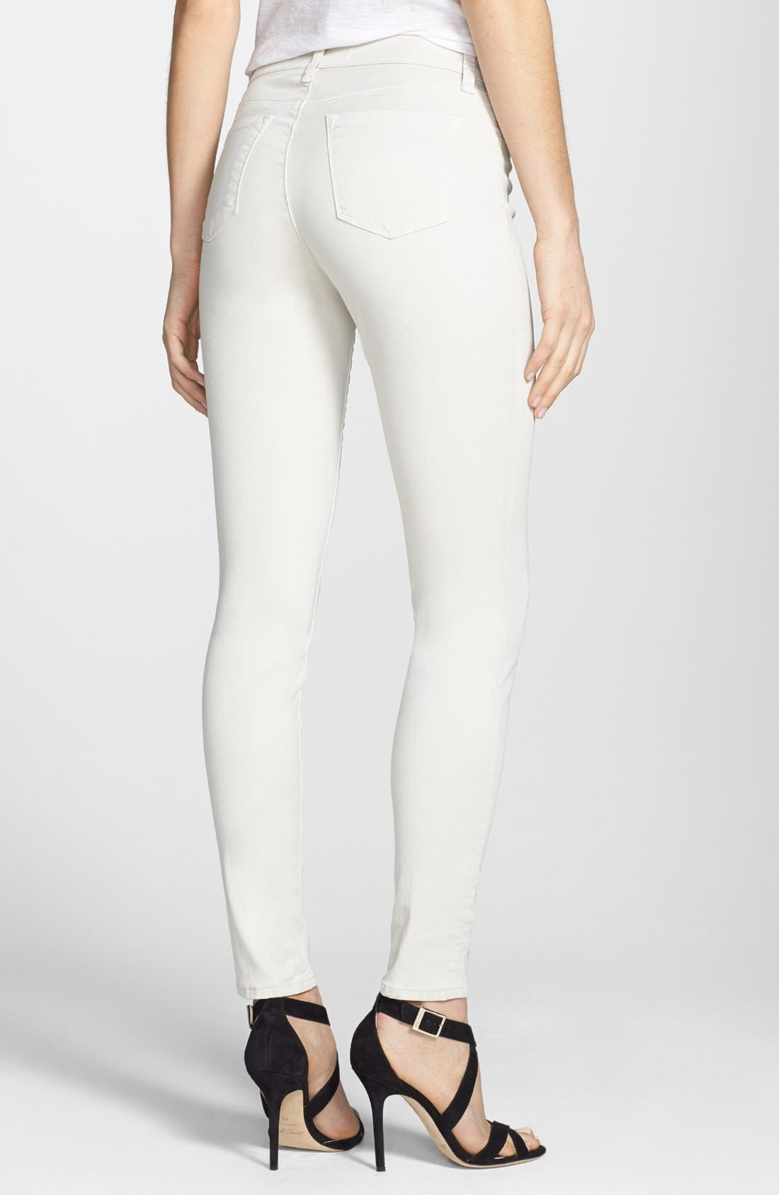 Alternate Image 3  - J Brand '485' Mid Rise Super Skinny Jeans (Chalk)