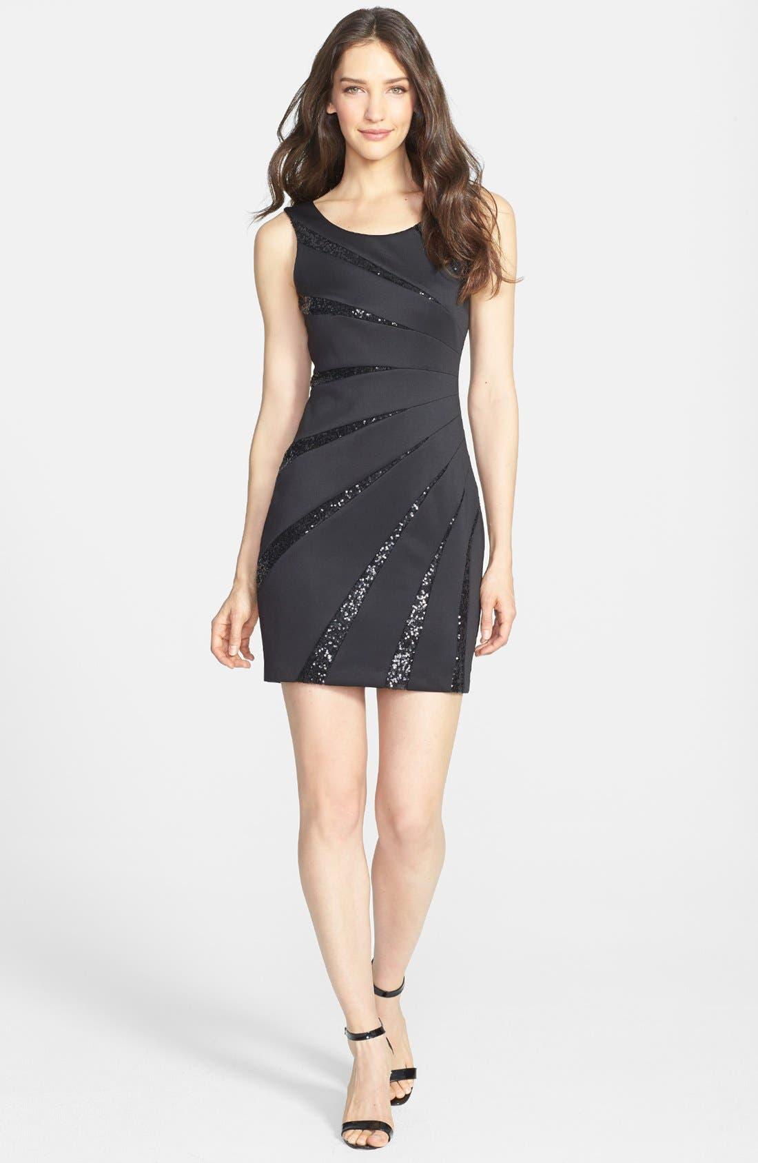 Main Image - GUESS Sequin Embellished Scuba Sheath Dress