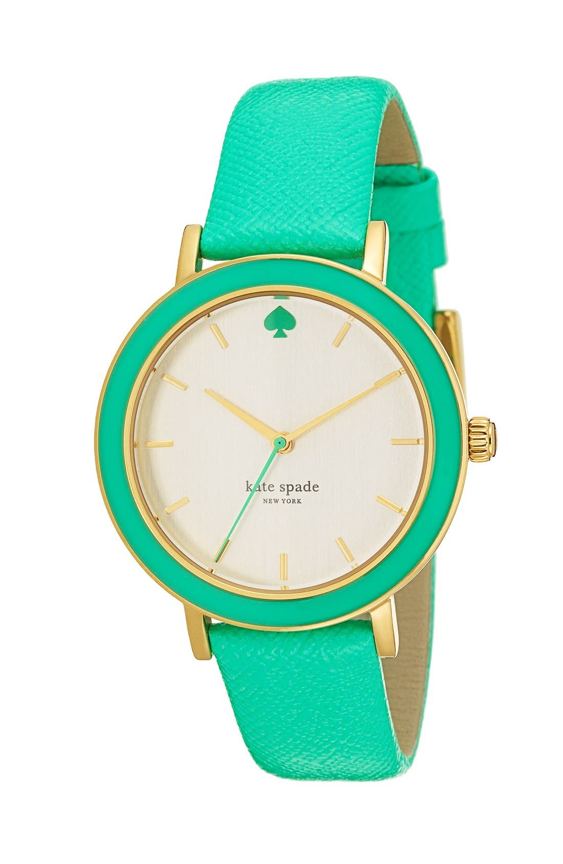 Alternate Image 3  - kate spade new york 'metro' enamel bezel leather strap watch, 38mm