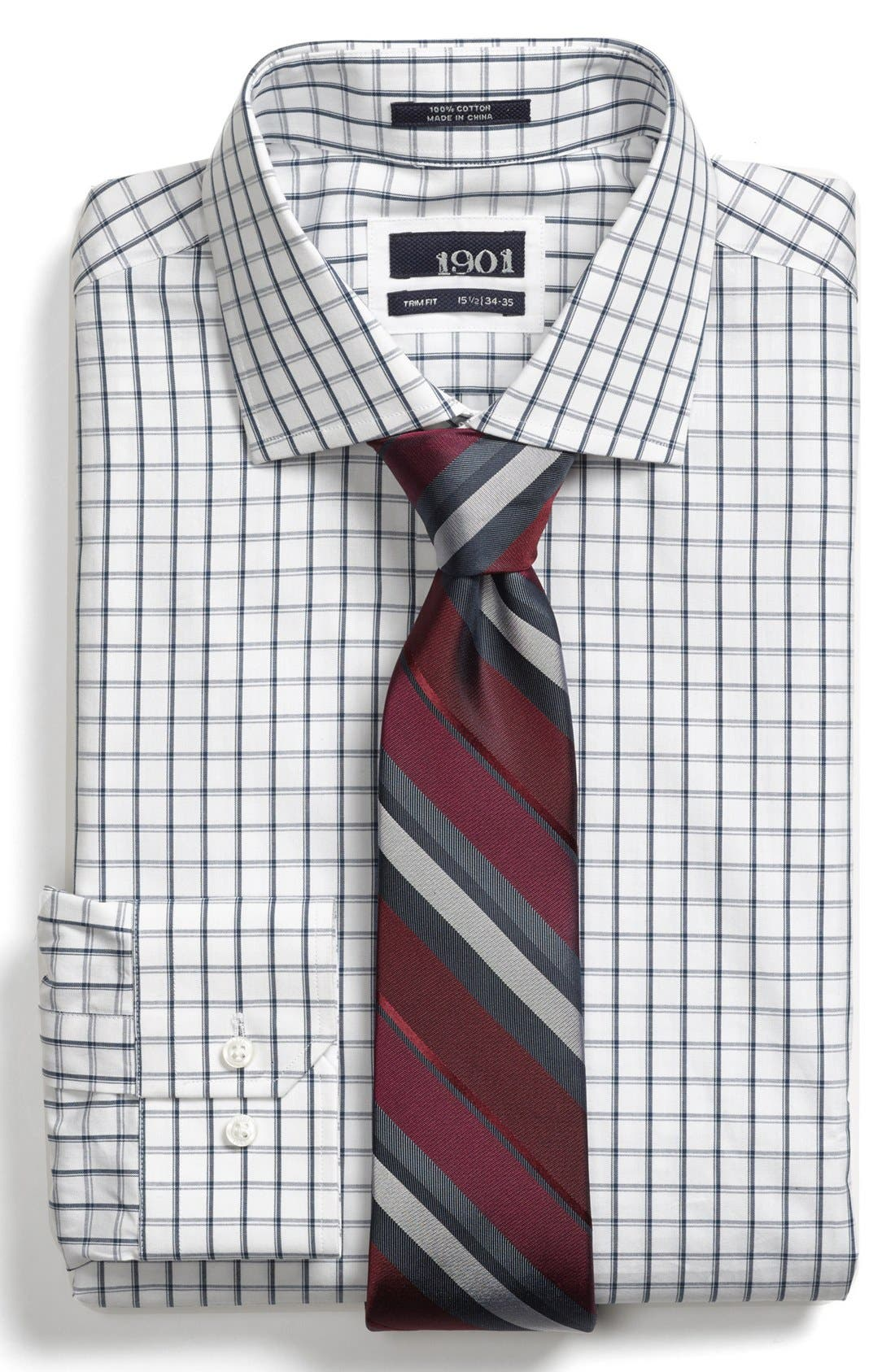 Main Image - 1901 Trim Fit Check Dress Shirt