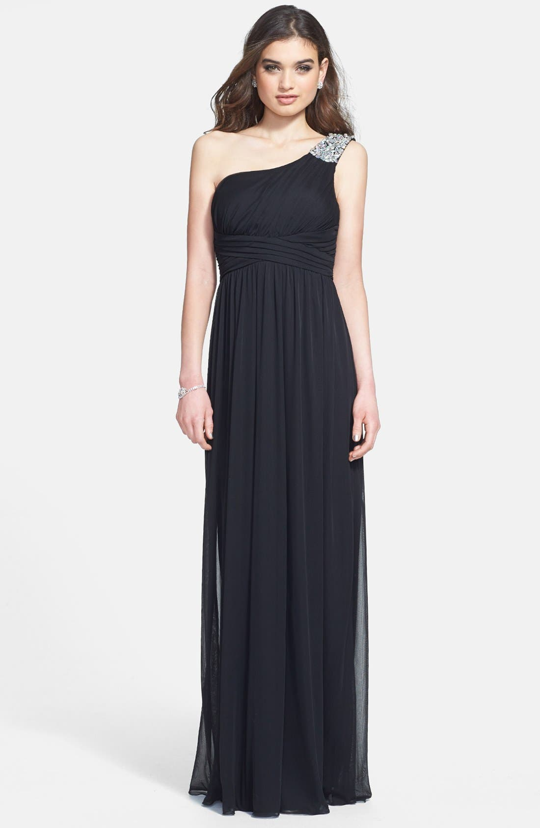 Main Image - Way-In Embellished One-Shoulder Mesh Gown (Juniors)