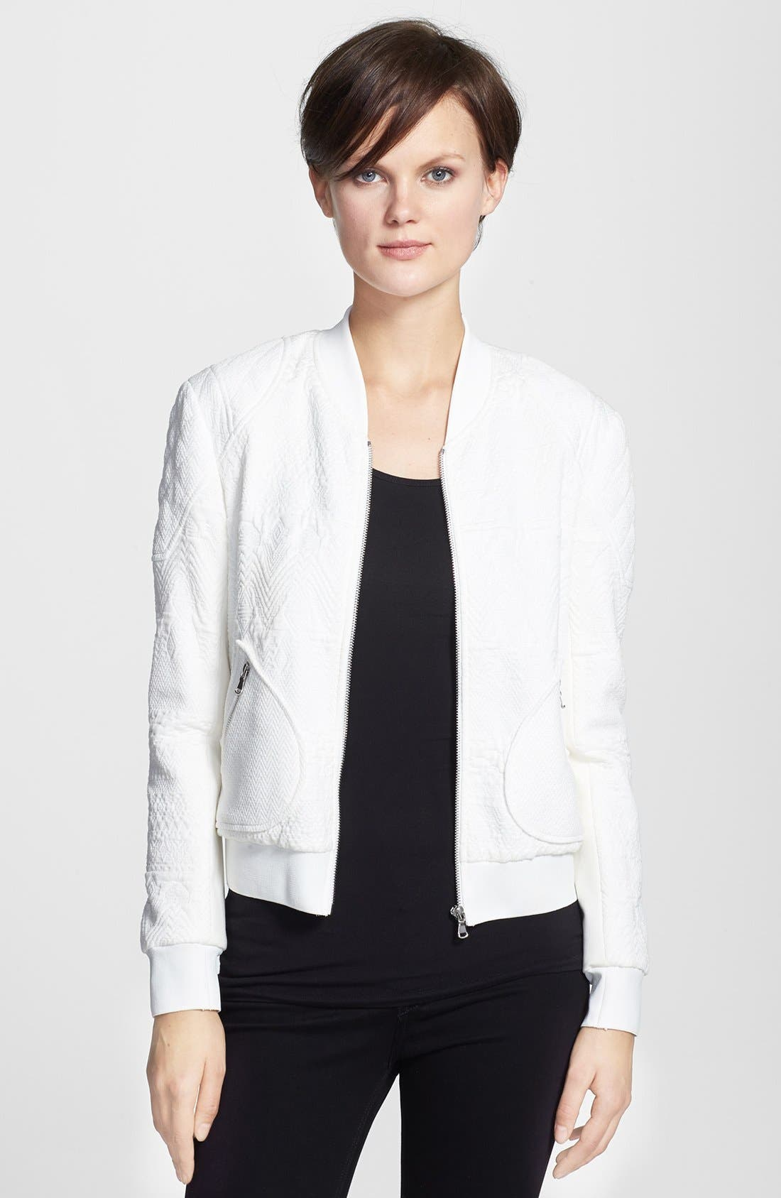 Alternate Image 1 Selected - Rebecca Taylor Jacquard Bomber Jacket
