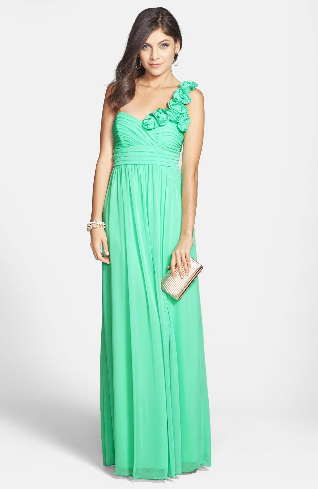 Alternate Image 1 Selected - Way-In Rosette Strap One-Shoulder Gown (Juniors) (Online Only)