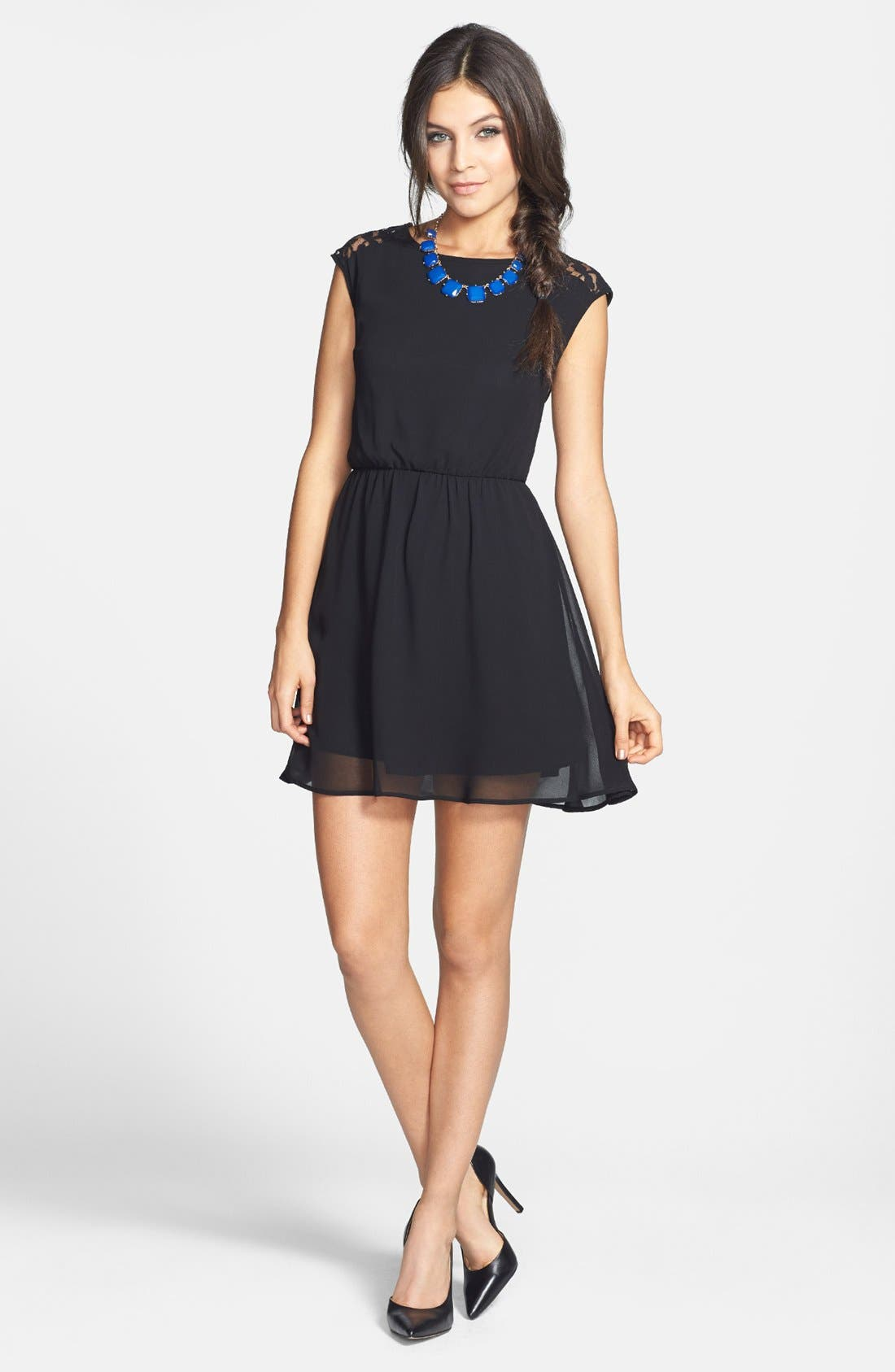 Alternate Image 2  - dee elle Cutout Mixed Media Skater Dress (Juniors)