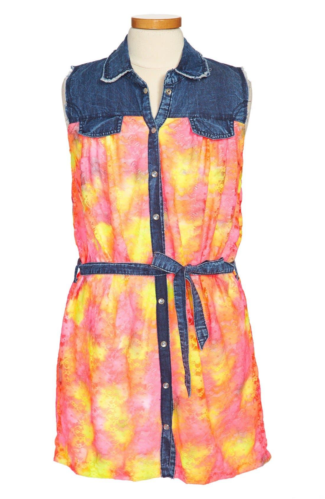 Main Image - Flowers by Zoe Neon Denim Dress (Big Girls)