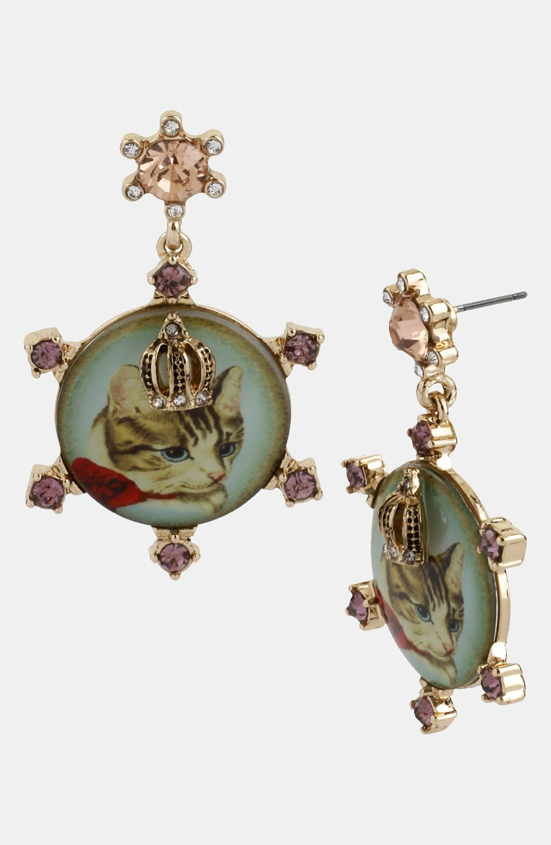 Main Image - Betsey Johnson 'Vintage Bow' Cameo Drop Earrings
