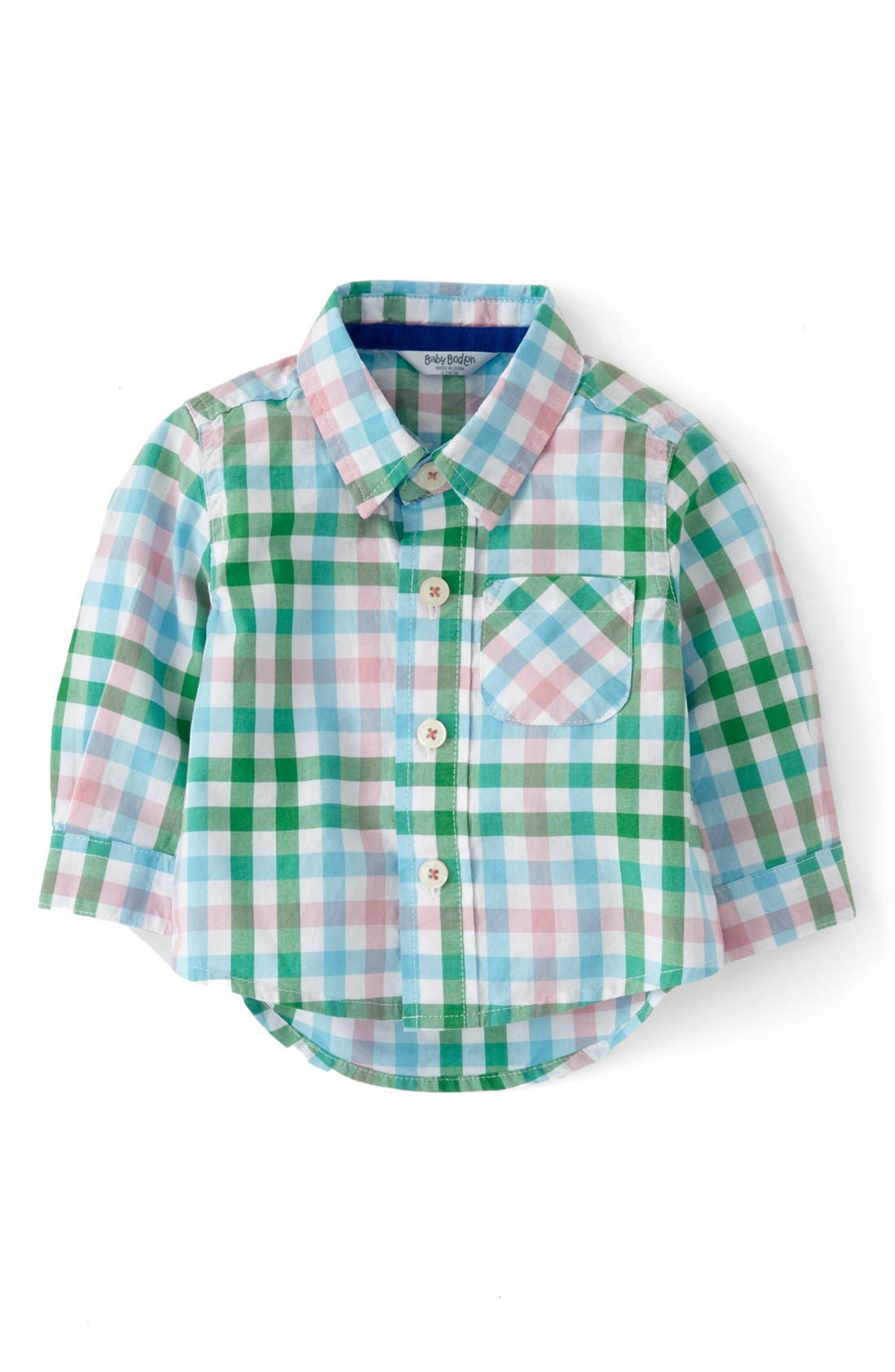 Alternate Image 1 Selected - Mini Boden 'Laundered' Woven Shirt (Baby Boys)