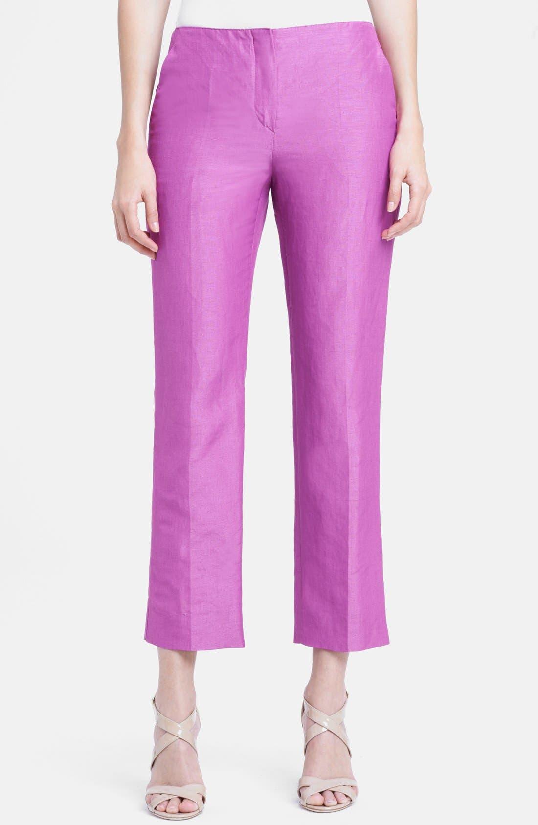 Main Image - Armani Collezioni Silk & Linen Capri Pants