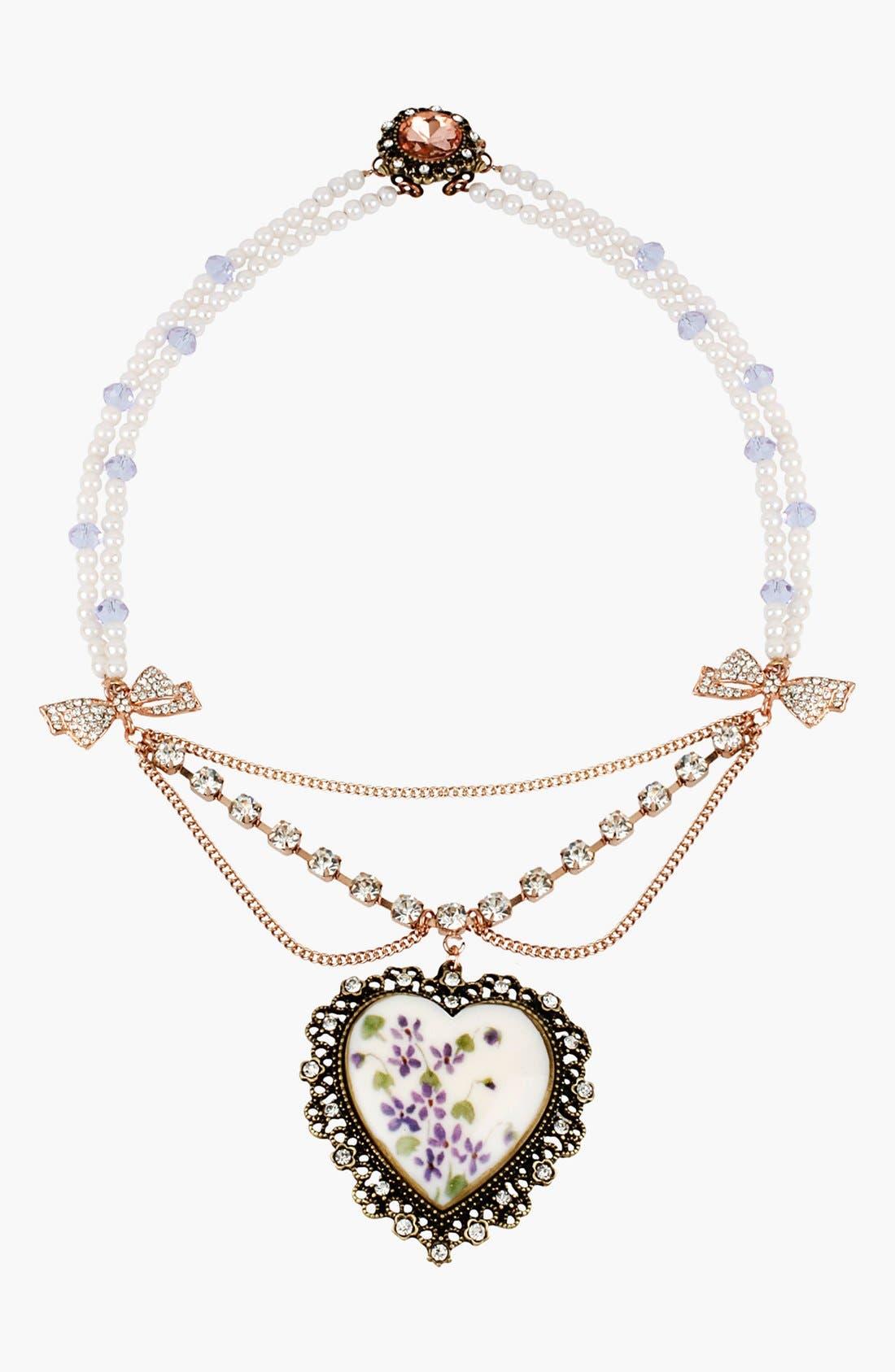 Main Image - Betsey Johnson 'Vintage Bow' Heart Pendant Necklace