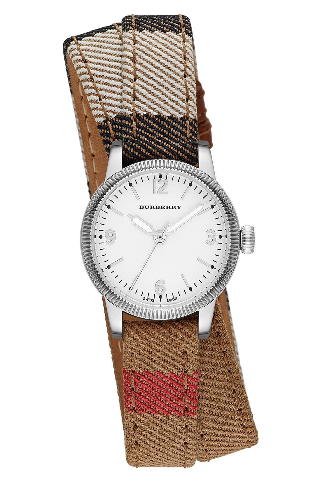 Main Image - Burberry 'Utilitarian' Round Check Wrap Watch, 30mm