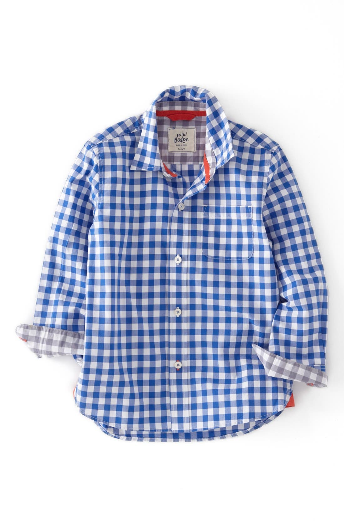 Main Image - Mini Boden Laundered Gingham Sport Shirt (Toddler Boys, Little Boys & Big Boys)