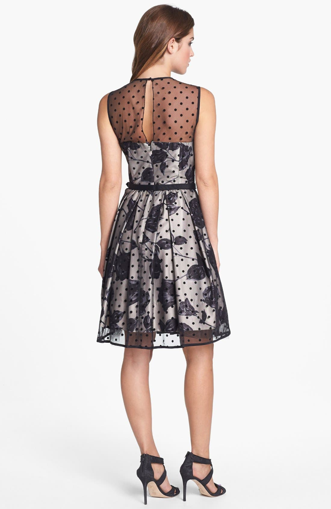 Alternate Image 2  - Eliza J Flocked Dot Illusion Dress (Petite)