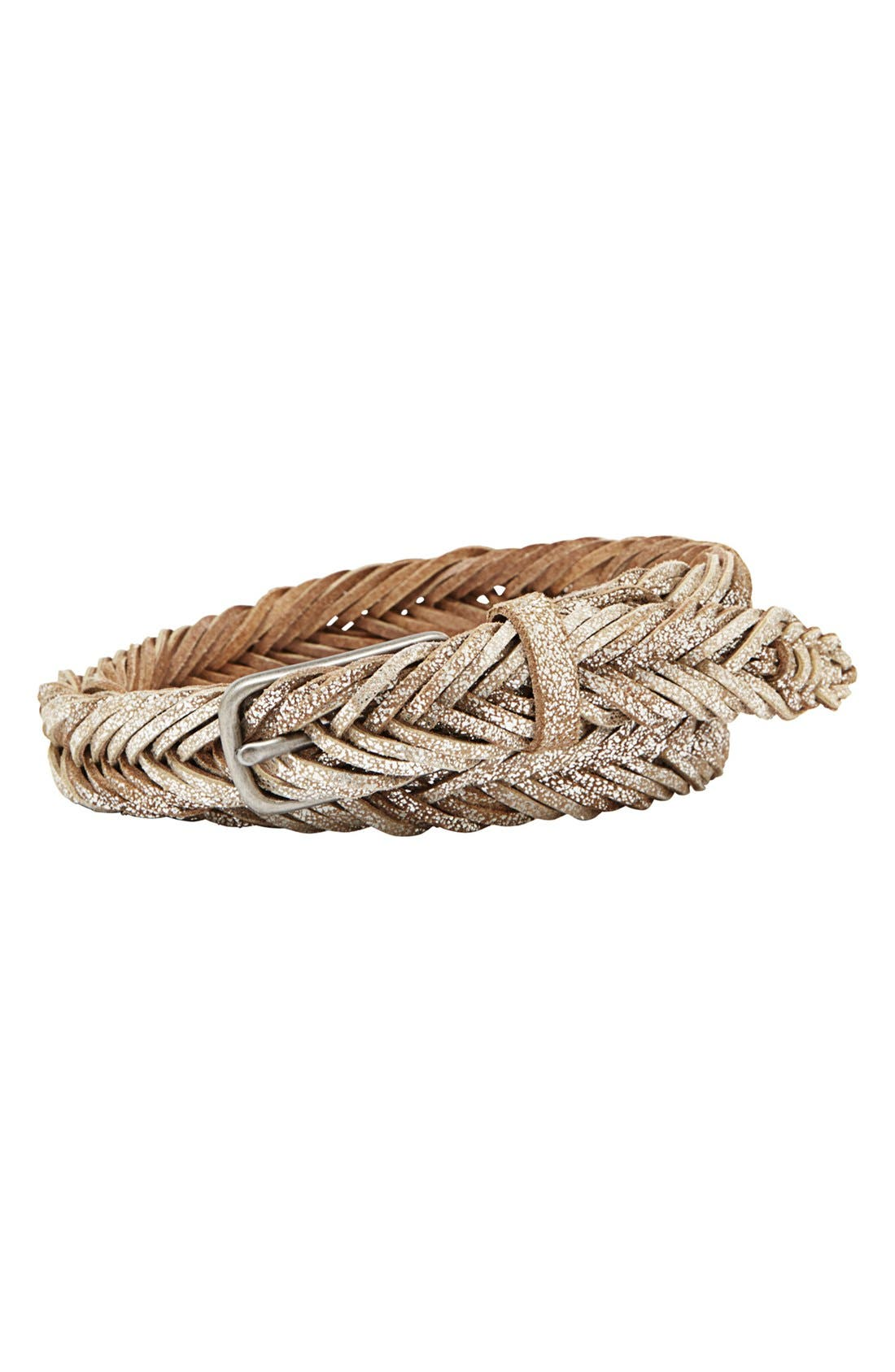 Alternate Image 1 Selected - Fossil Fishtail Braided Leather Belt