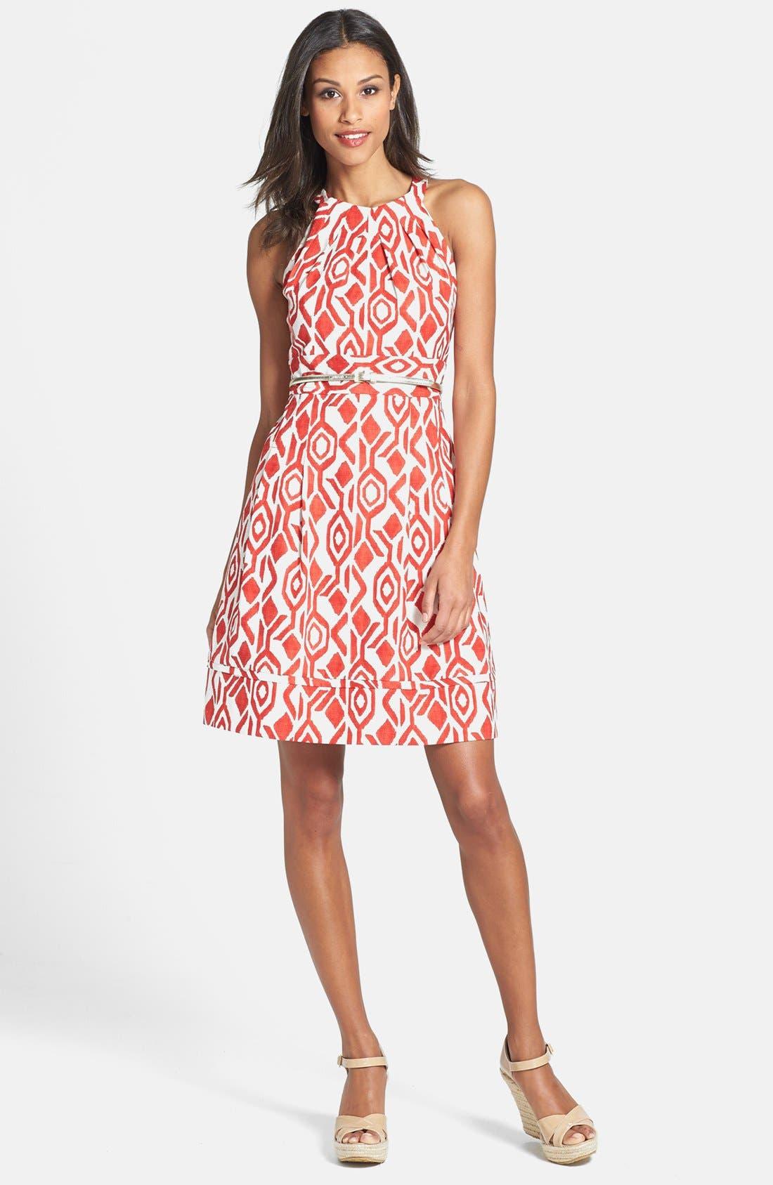Alternate Image 1 Selected - Eliza J Print Cutaway Bodice Stretch Cotton Fit & Flare Dress