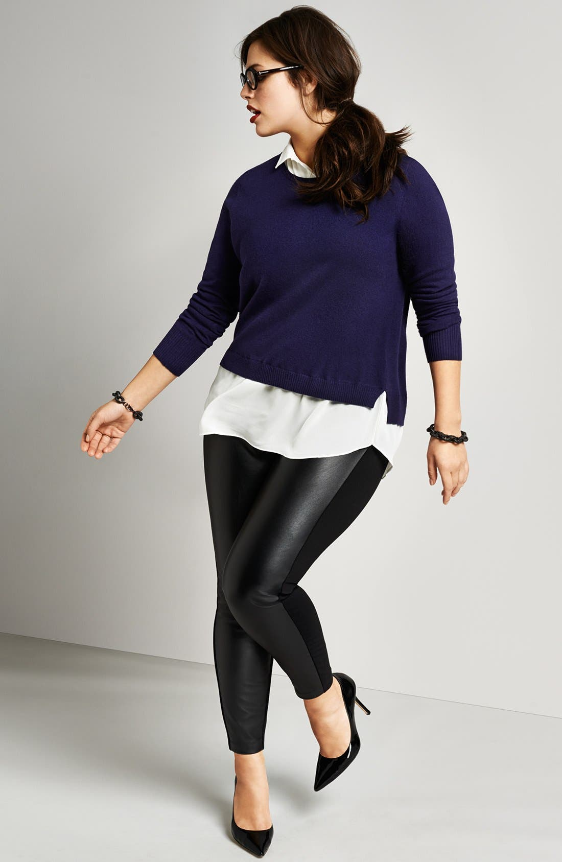Alternate Image 4  - DKNYC Faux Leather Front Leggings (Plus Size)