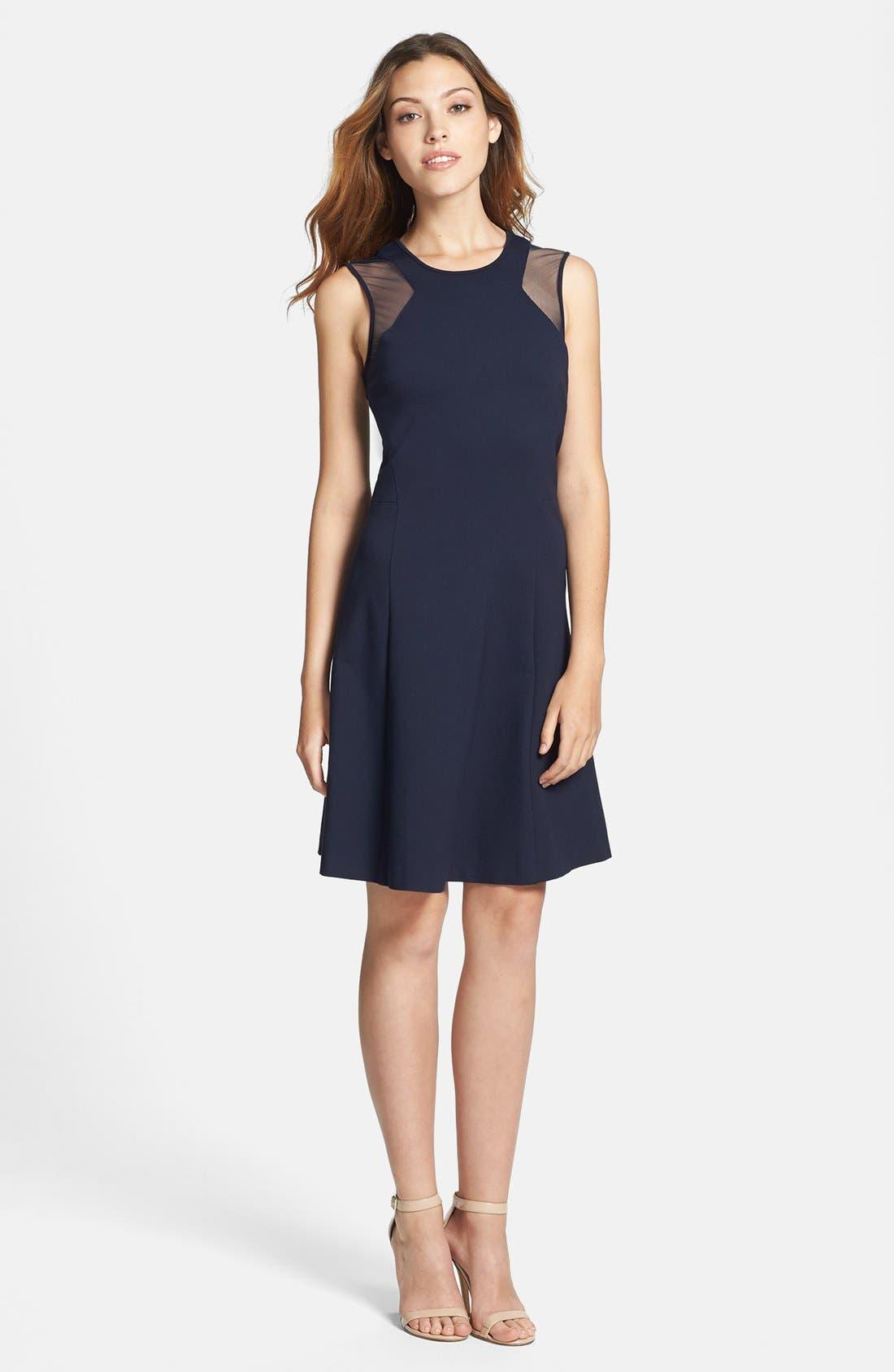 Alternate Image 1 Selected - Vince Camuto Sheer Inset Ponte Dress