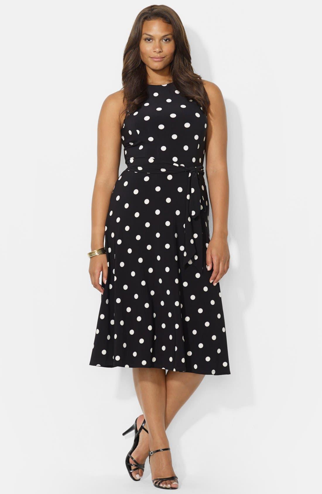 Alternate Image 1 Selected - Lauren Ralph Lauren Polka Dot Jersey Fit & Flare Dress (Plus Size)