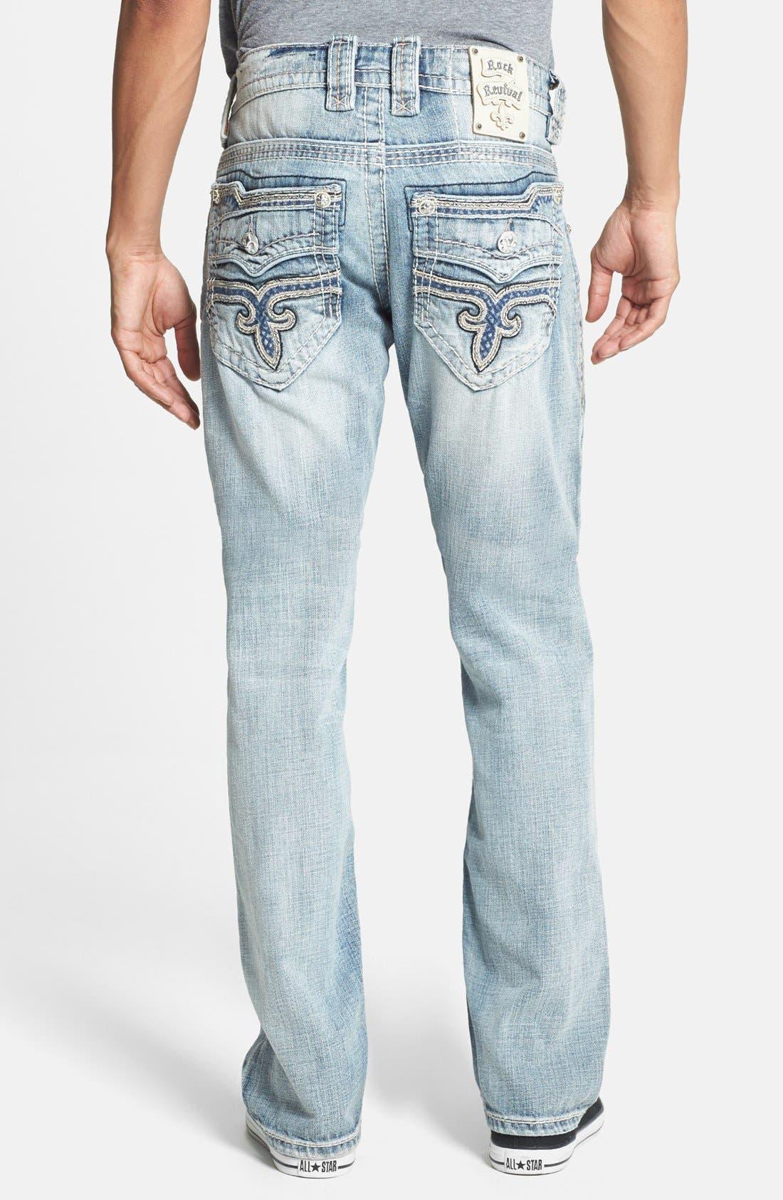 Alternate Image 1 Selected - Rock Revival 'Romeo' Straight Leg Jeans (Light Blue)