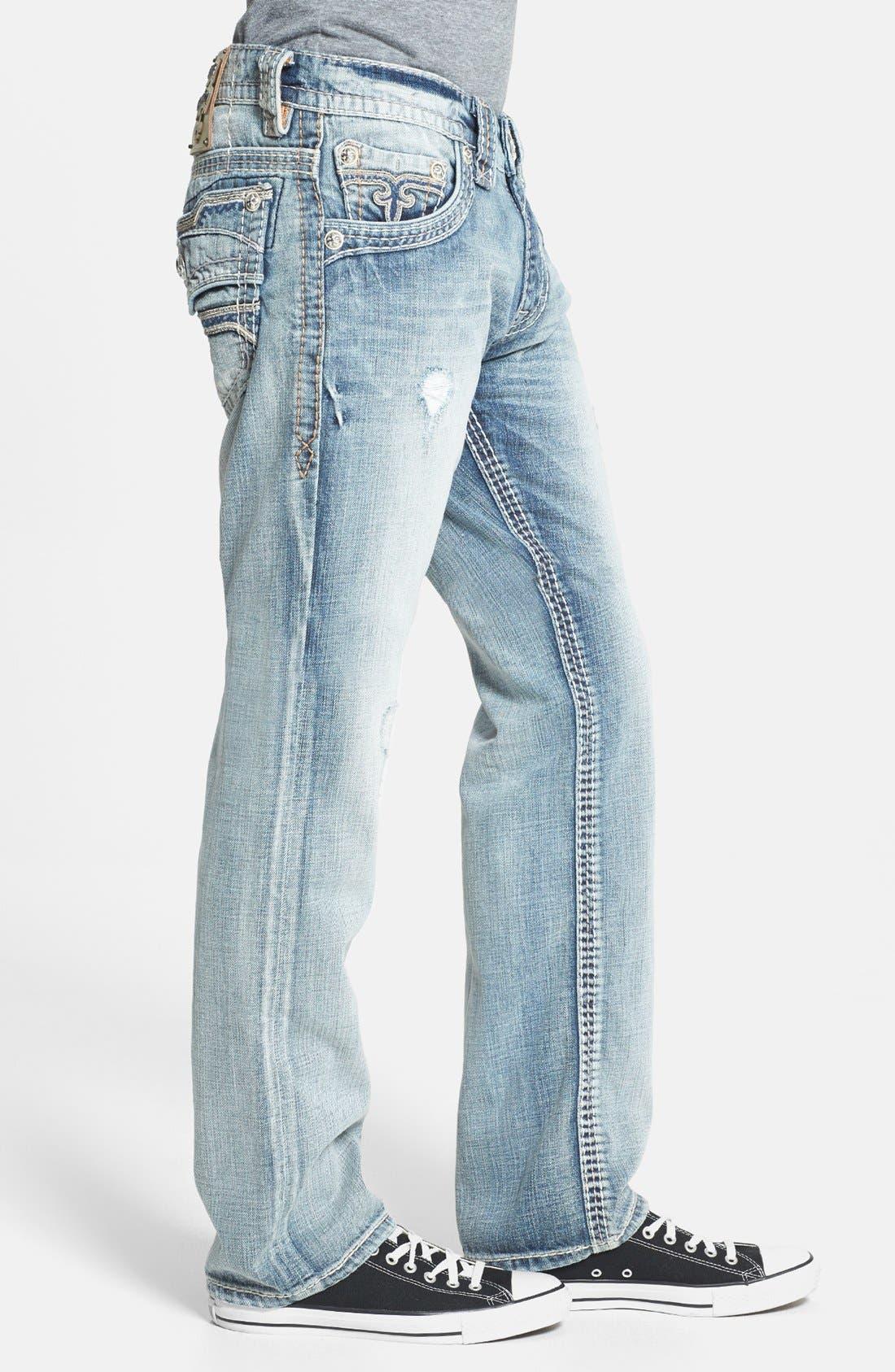 Alternate Image 3  - Rock Revival 'Romeo' Straight Leg Jeans (Light Blue)