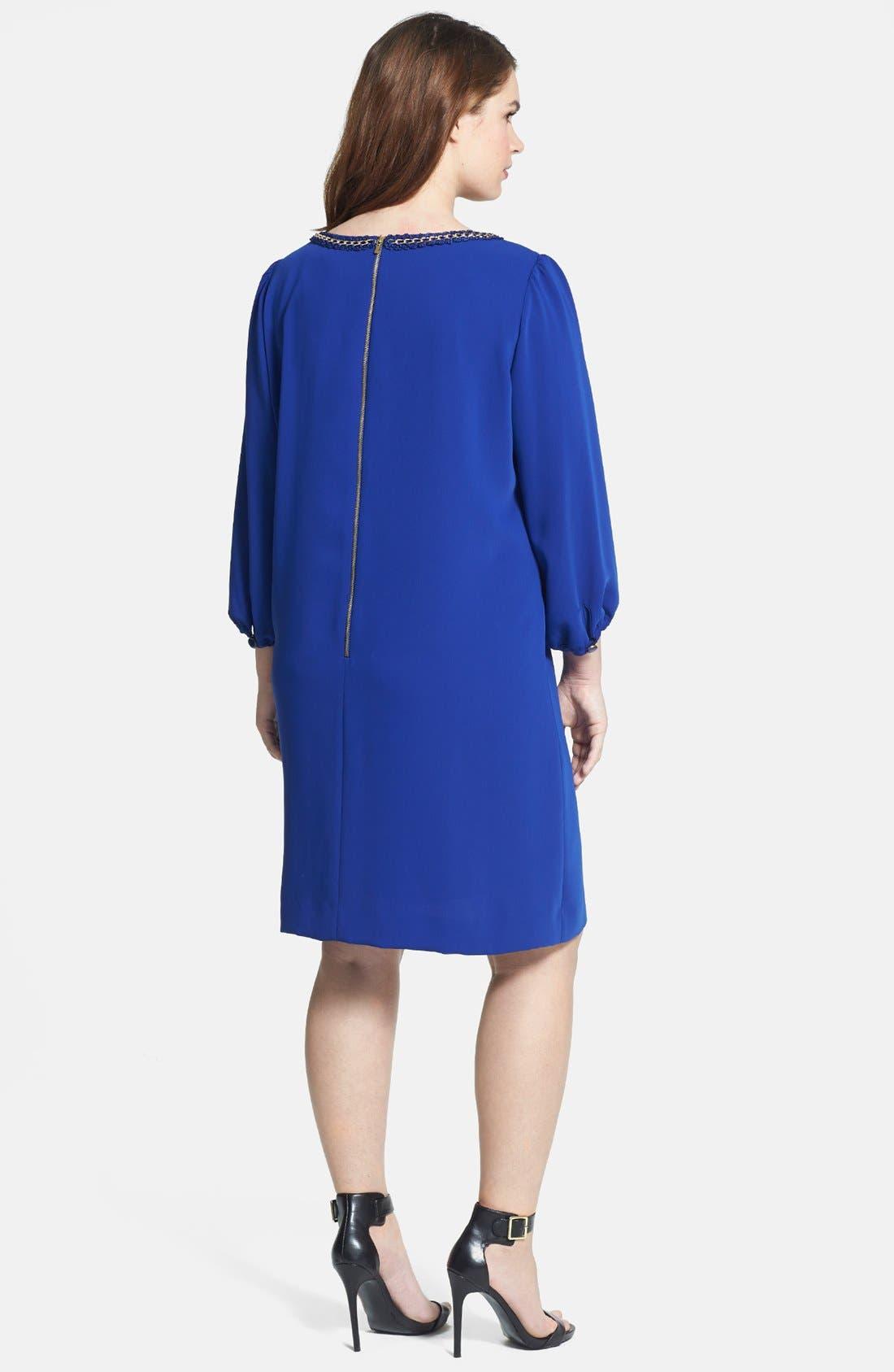 Alternate Image 2  - Tahari Chain Detail Shift Dress (Plus Size)