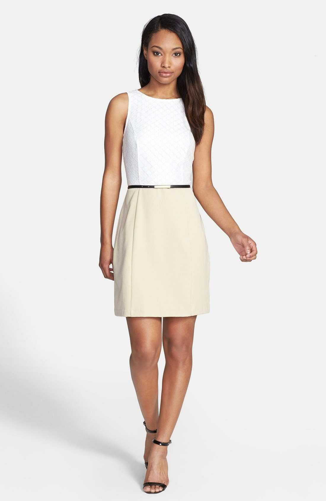 Alternate Image 1 Selected - kensie Dot Lace & Solid Dress