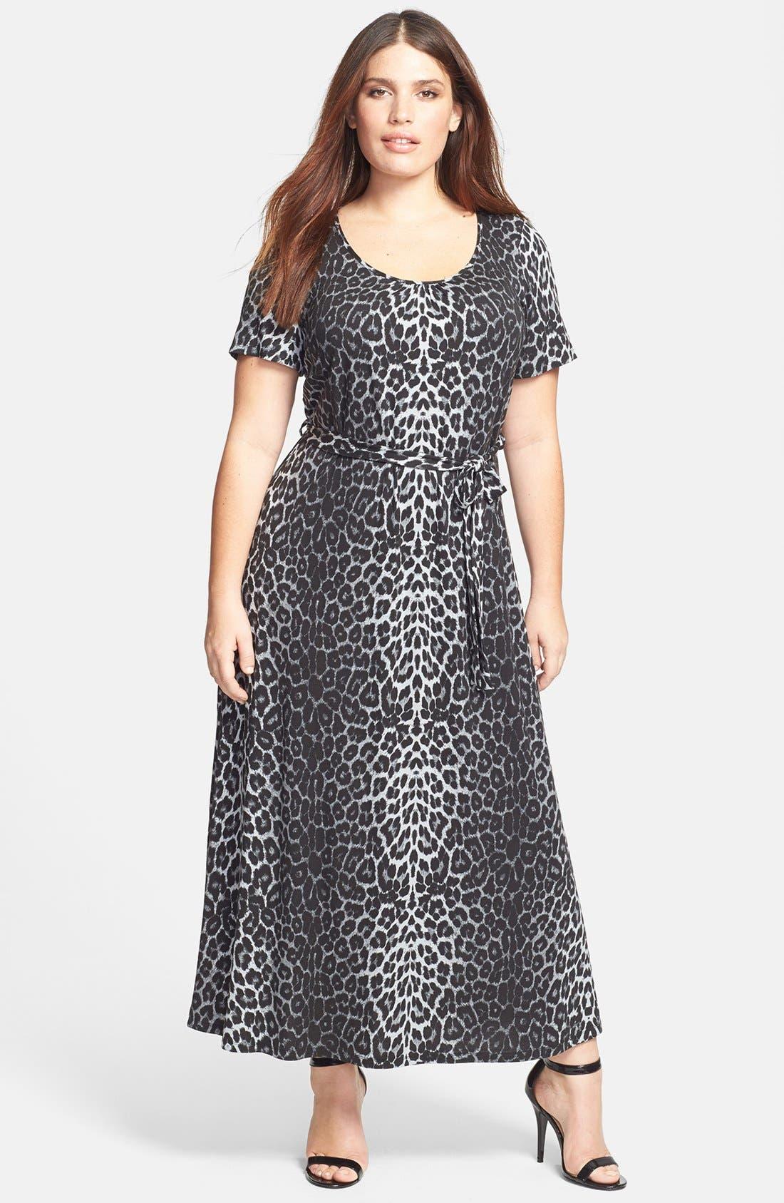 Main Image - Evans Animal Print Maxi Dress (Plus Size)