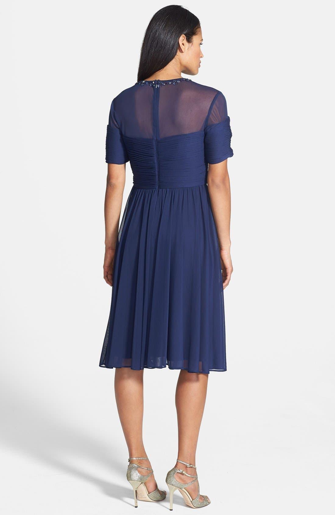 Alternate Image 2  - Alex Evenings Embellished Illusion Yoke Chiffon Fit & Flare Dress (Regular & Petite)