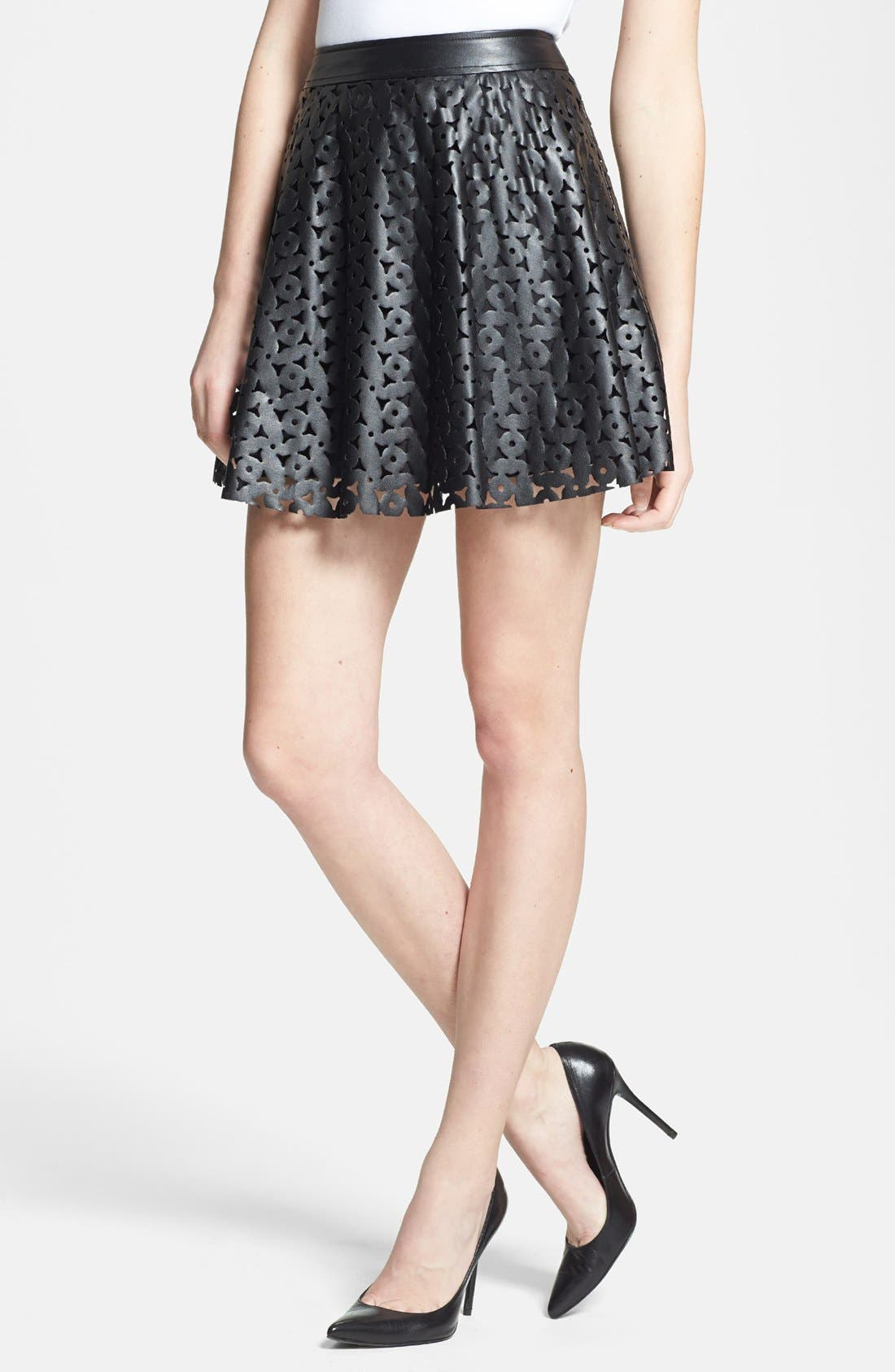 Alternate Image 1 Selected - 1.STATE Laser Cut Faux Leather Skirt