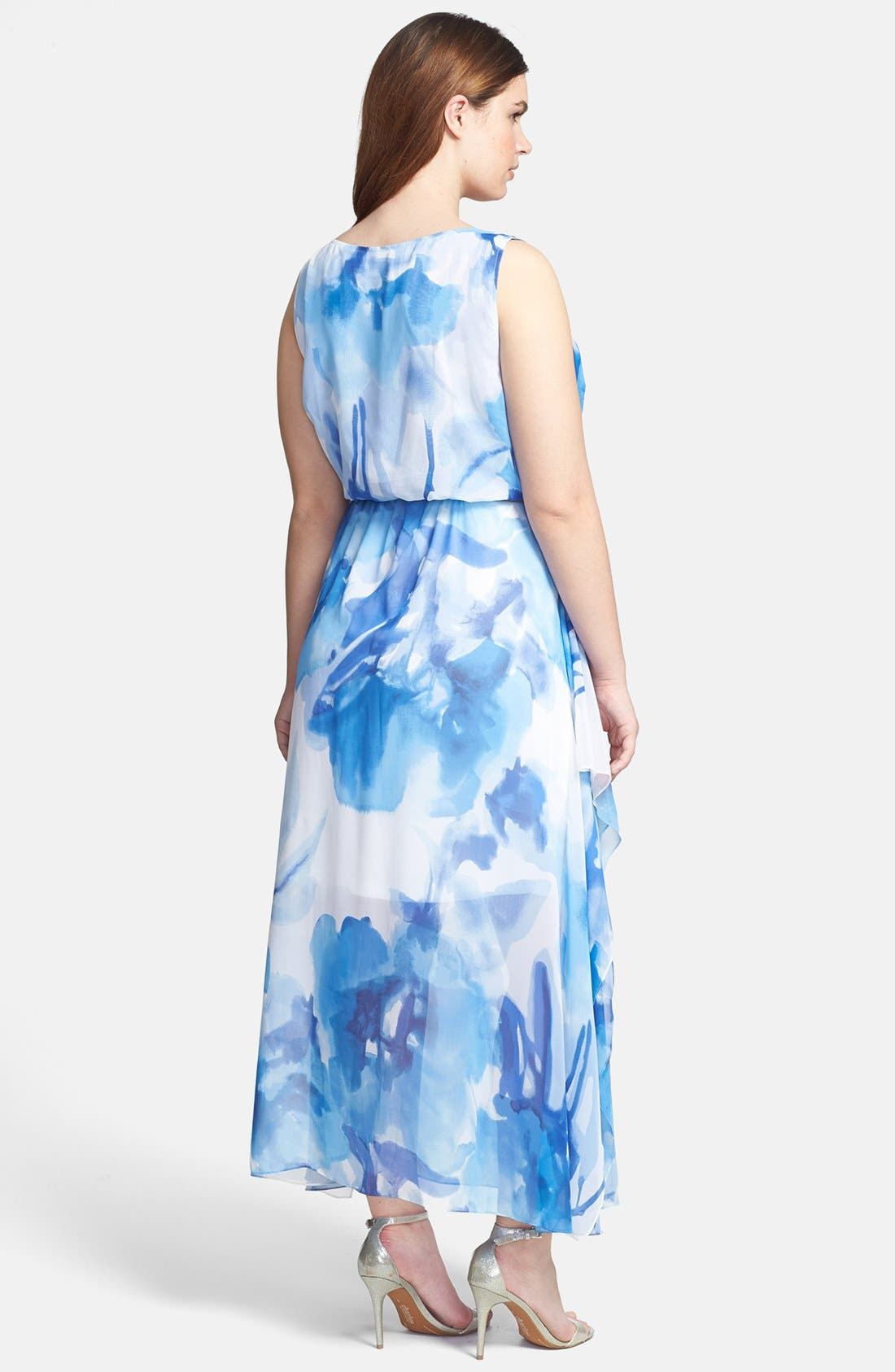 Alternate Image 2  - Calvin Klein Belted Floral Print Chiffon Maxi Dress (Plus Size)