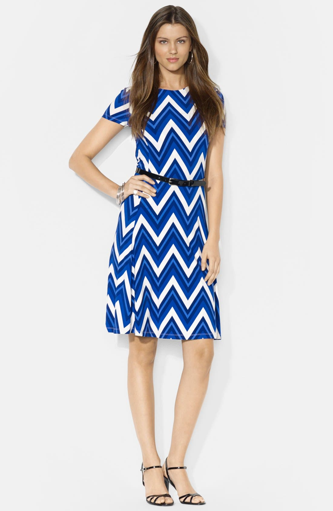 Main Image - Lauren Ralph Lauren Belted Print Jersey Crewneck Dress