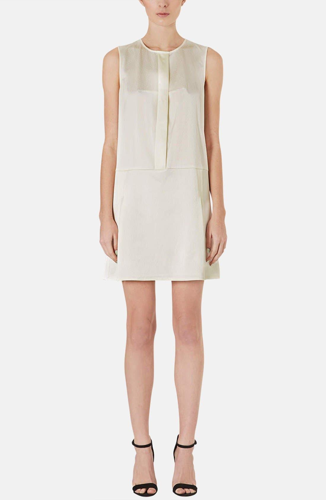 Main Image - Topshop Pleated Silk Shift Dress
