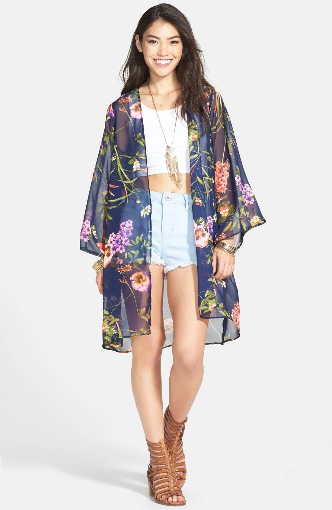 Alternate Image 1 Selected - Lush Print Chiffon Lightweight Jacket (Juniors)