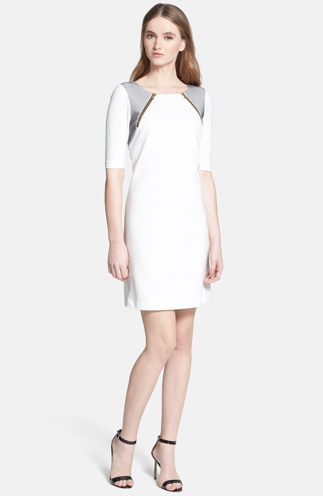 Alternate Image 1 Selected - Trina Turk 'Milena' Mesh Panel Ponte Dress