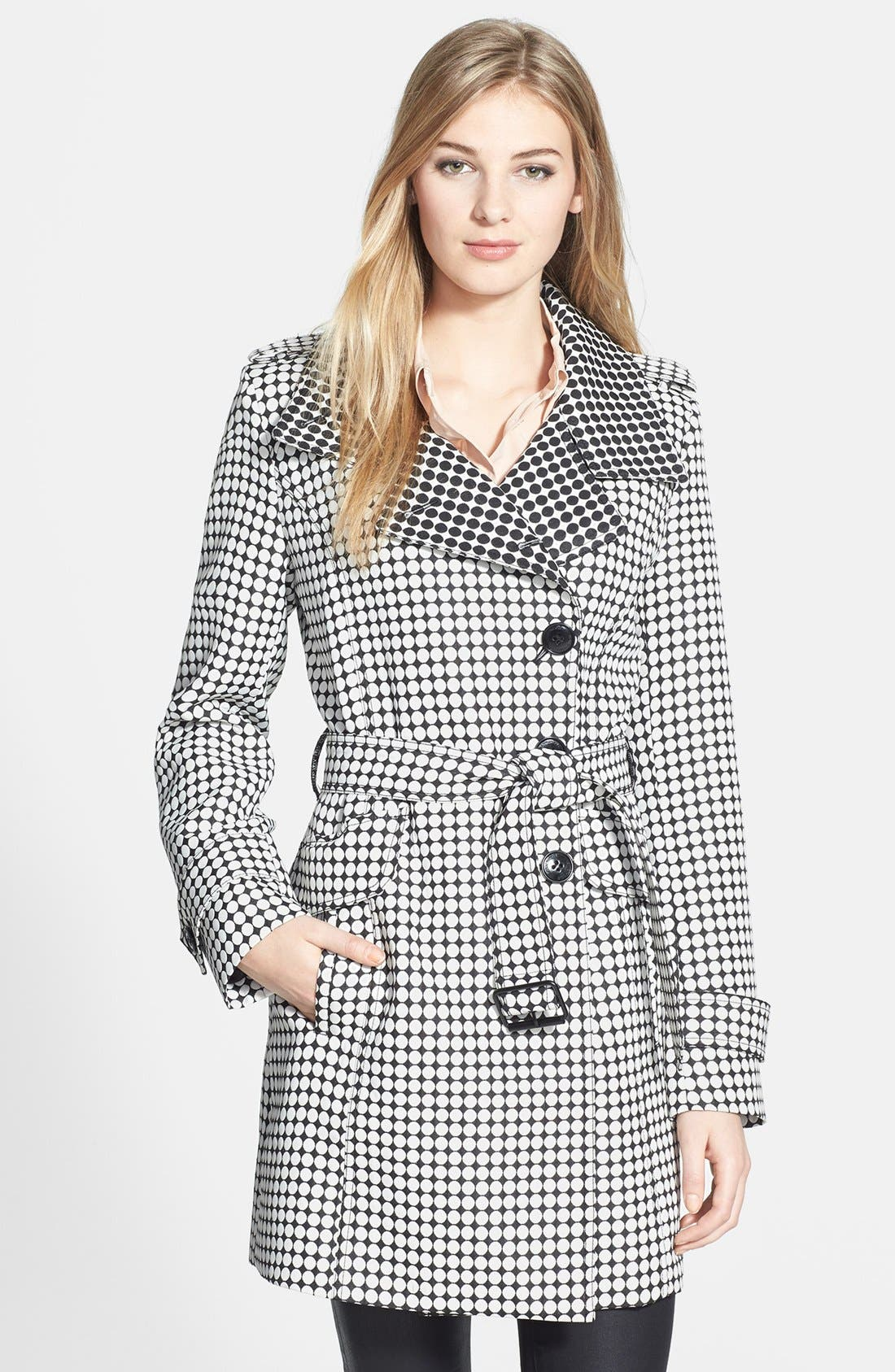 Main Image - Kenneth Cole New York Dot Print Asymmetric Trench Coat