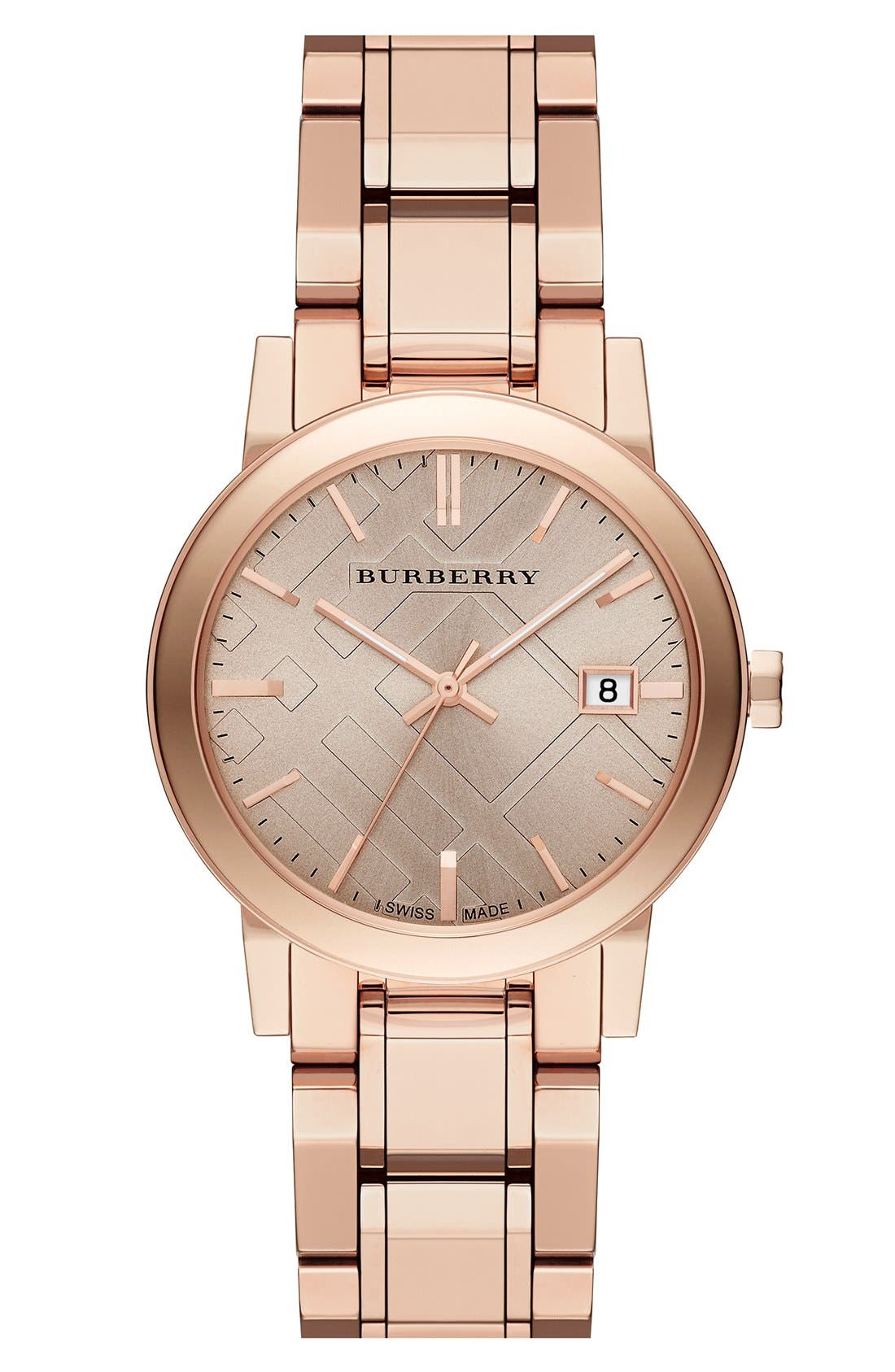 Alternate Image 1 Selected - Burberry Check Stamped Round Bracelet Watch, 34mm