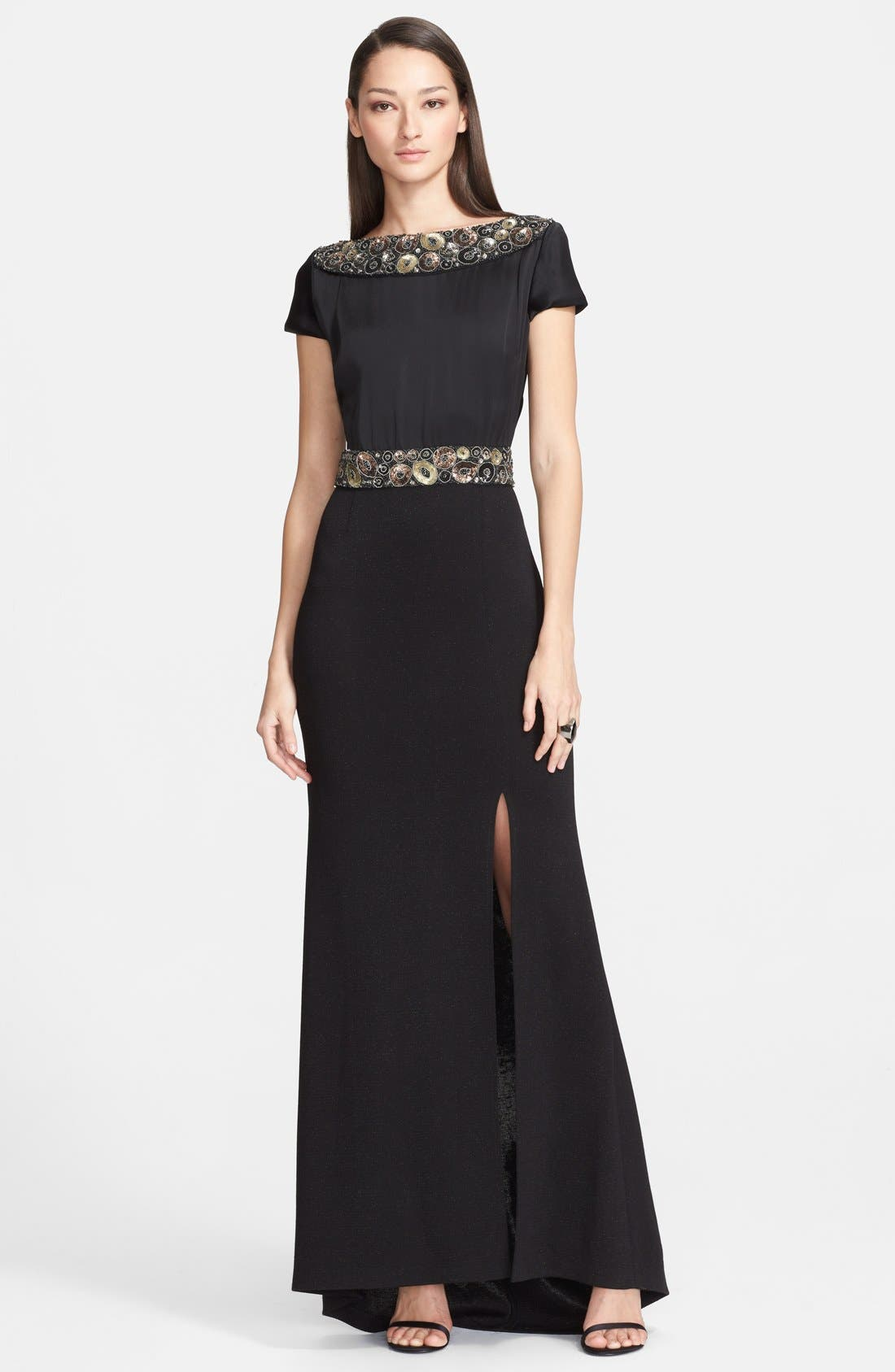Main Image - St. John Collection Embellished Liquid Crepe & Shimmer Milano Knit Gown