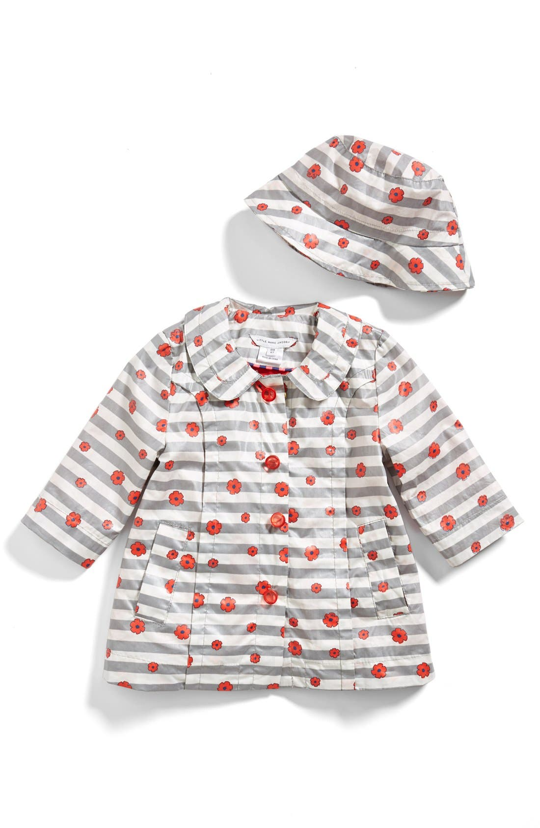 Alternate Image 1 Selected - LITTLE MARC JACOBS Stripe Floral Windbreaker & Hat (Baby Girls)