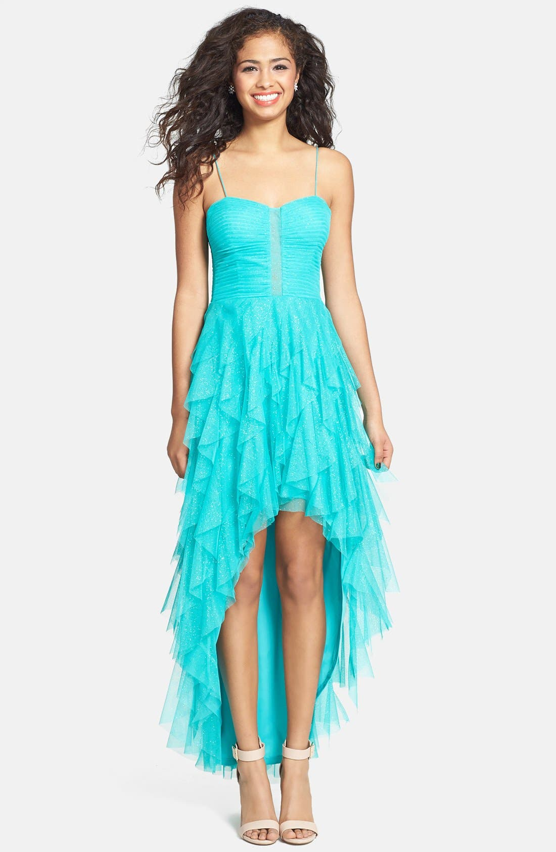 Alternate Image 1 Selected - Hailey Logan Glitter Ruffle High/Low Dress (Juniors) (Online Only)