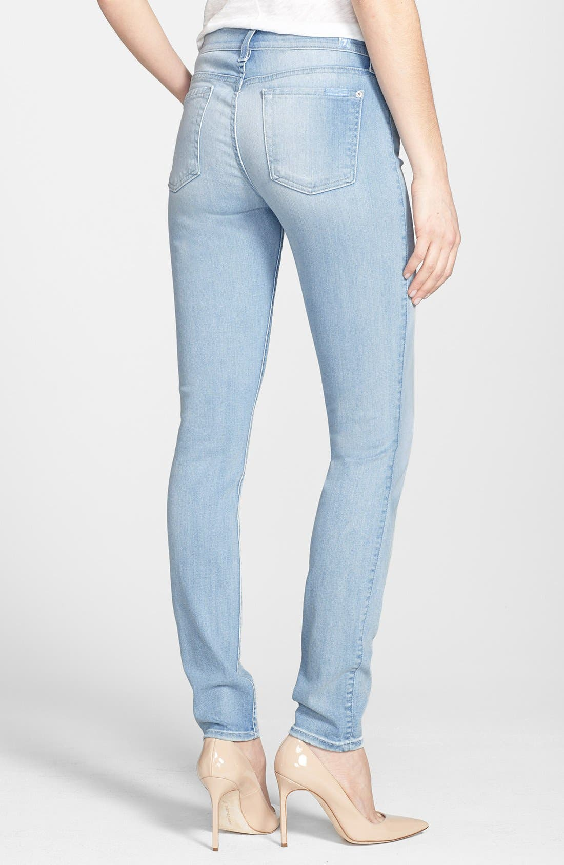Alternate Image 2  - 7 For All Mankind® 'The Skinny' Mid Rise Jeans (Sky Blue)