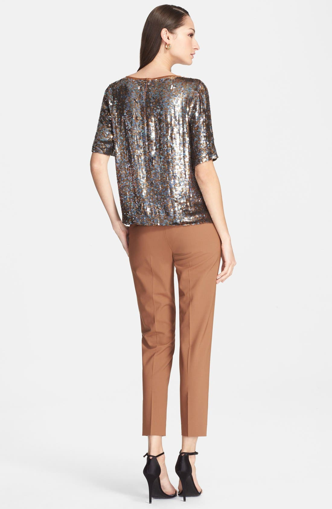 Alternate Image 2  - St. John Collection Embroidered Sequin Crop Shirt