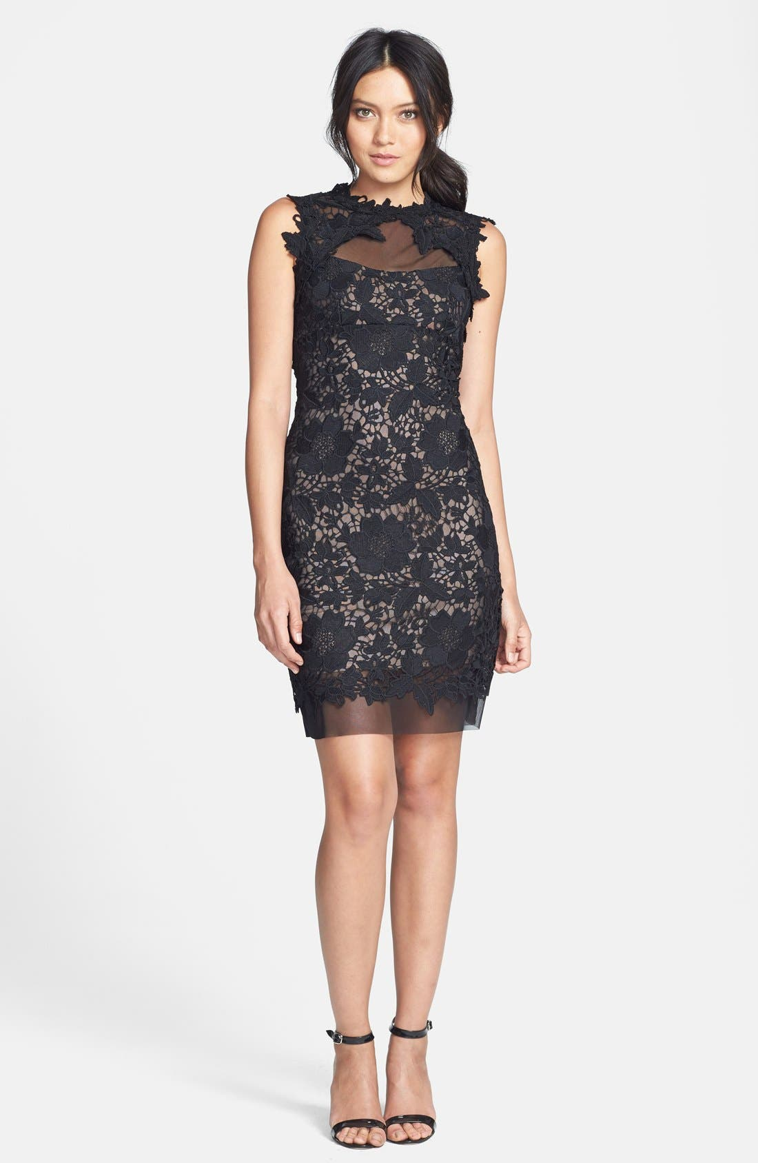Alternate Image 3  - Betsy & Adam Two-Tone Lace Sheath Dress