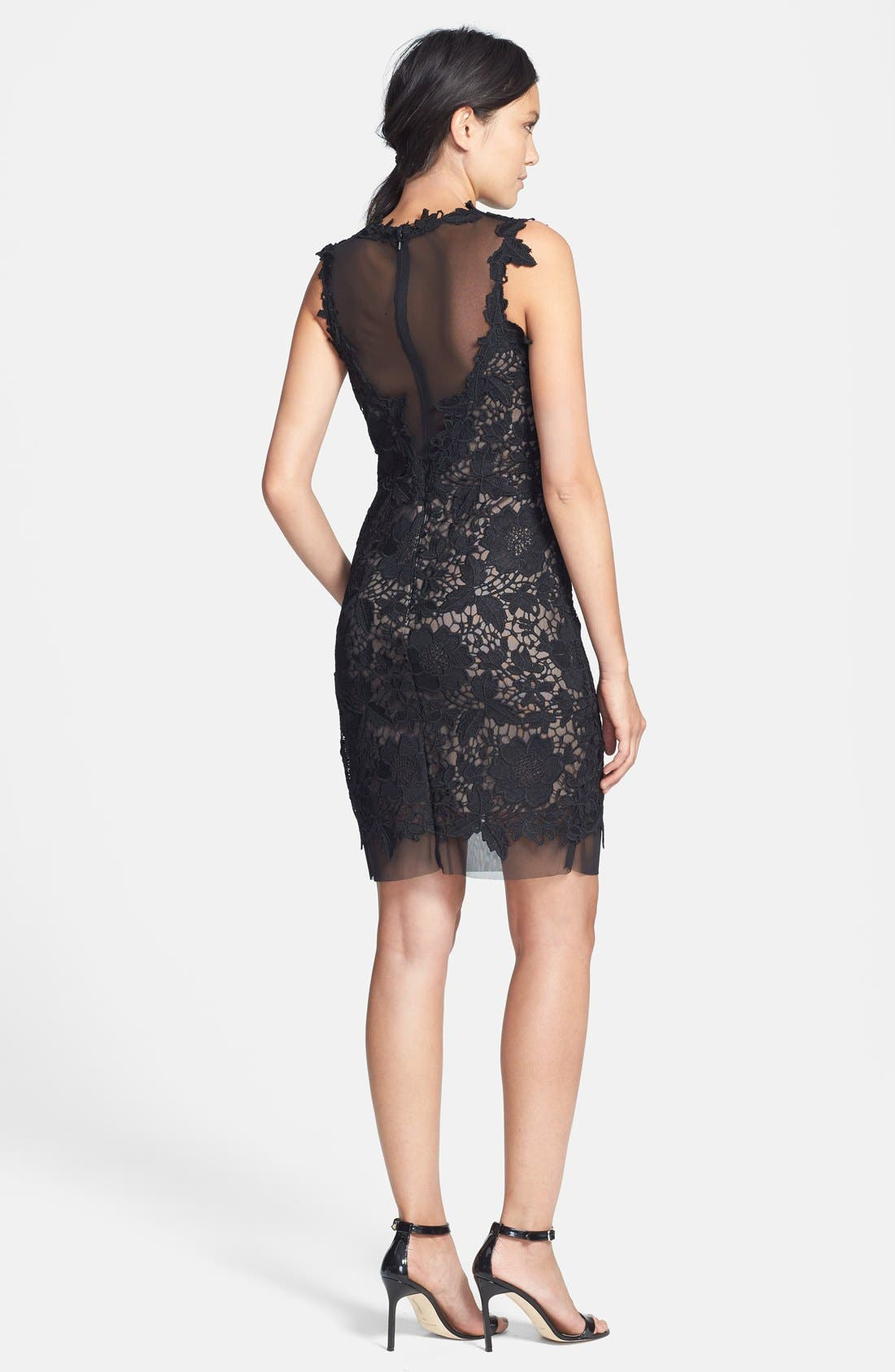 Alternate Image 2  - Betsy & Adam Two-Tone Lace Sheath Dress