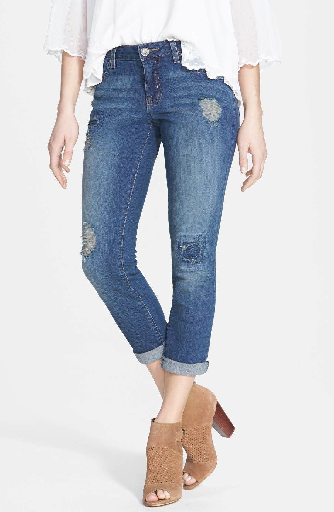 Main Image - Jessica Simpson 'Forever' Distressed Crop Skinny Jeans (Bluesine/Spain)