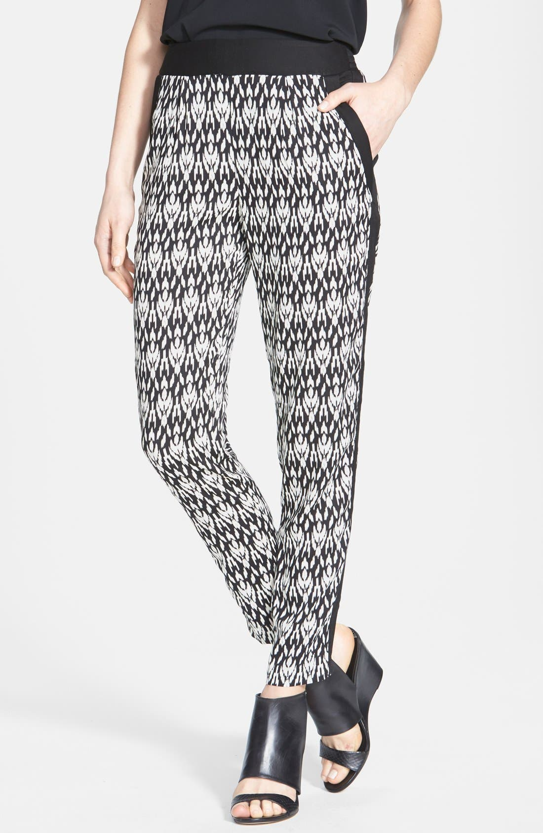 Main Image - Max & Mia Pleat Front Print Pants