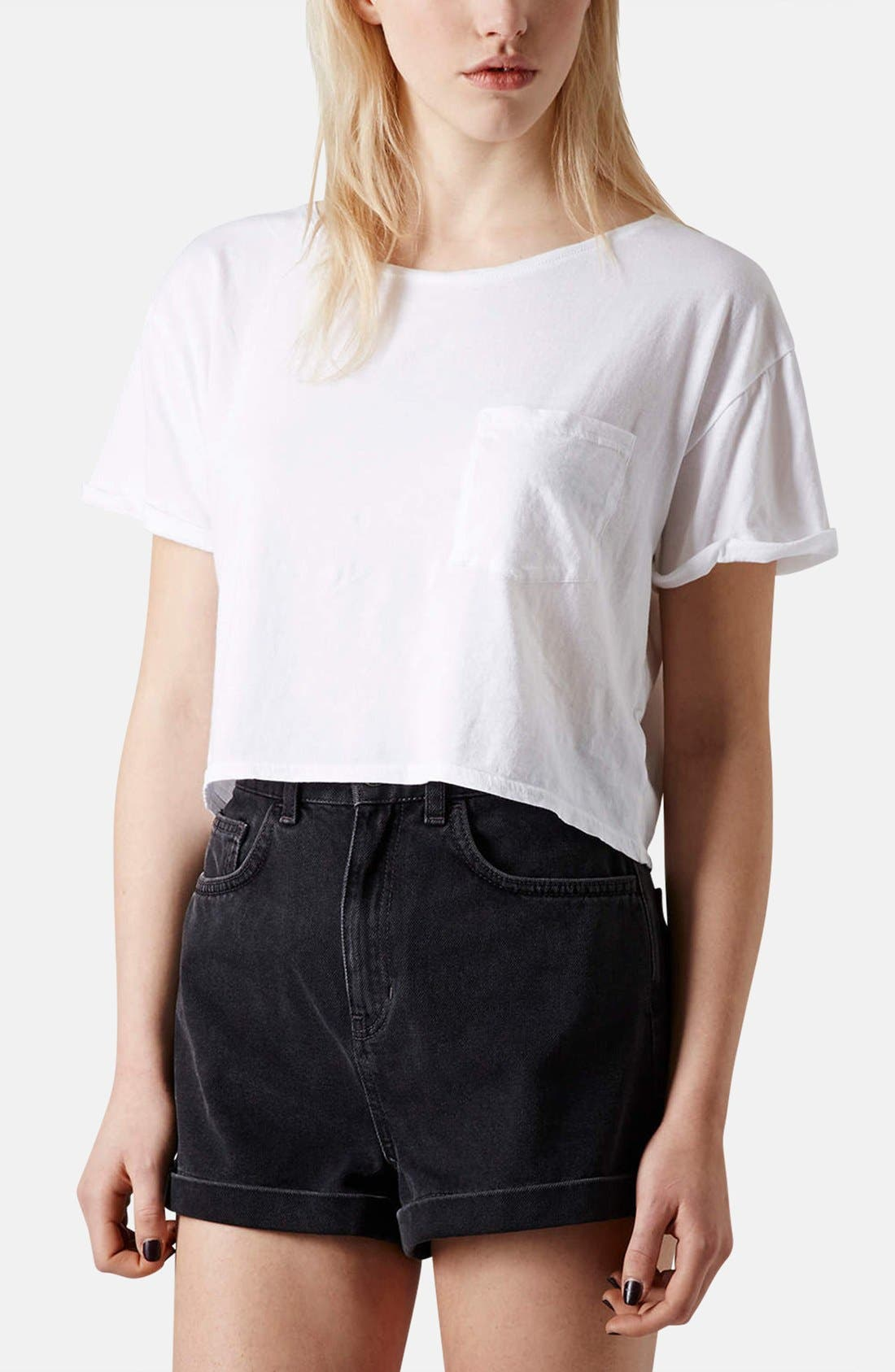 Main Image - Topshop Crop Pocket Tee