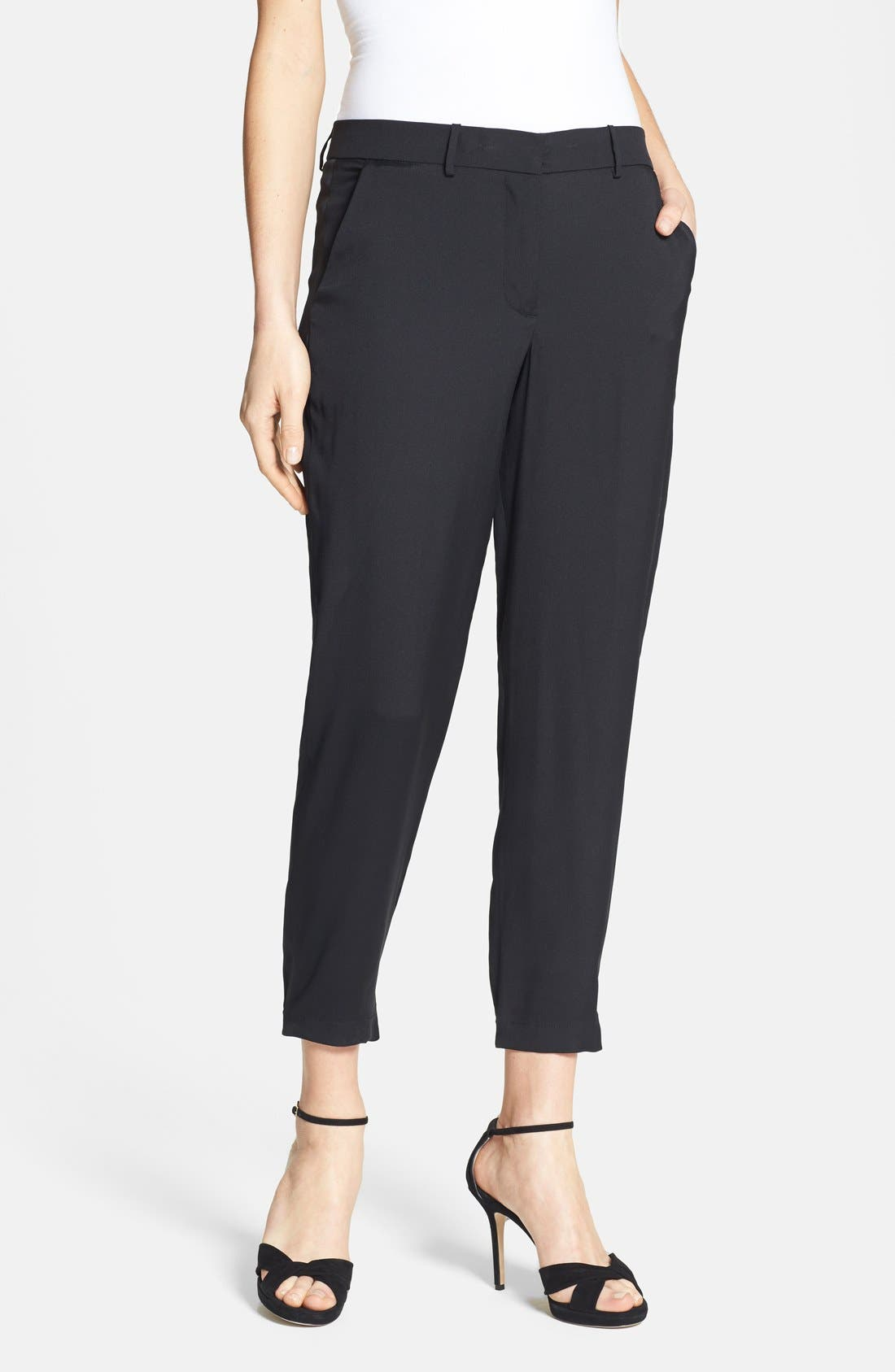 Alternate Image 1 Selected - Halston Heritage Ankle Stretch Silk Pants