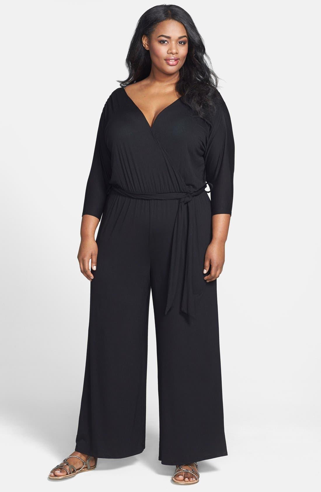 Loveappella Surplice Neckline Jersey Jumpsuit (Plus Size)
